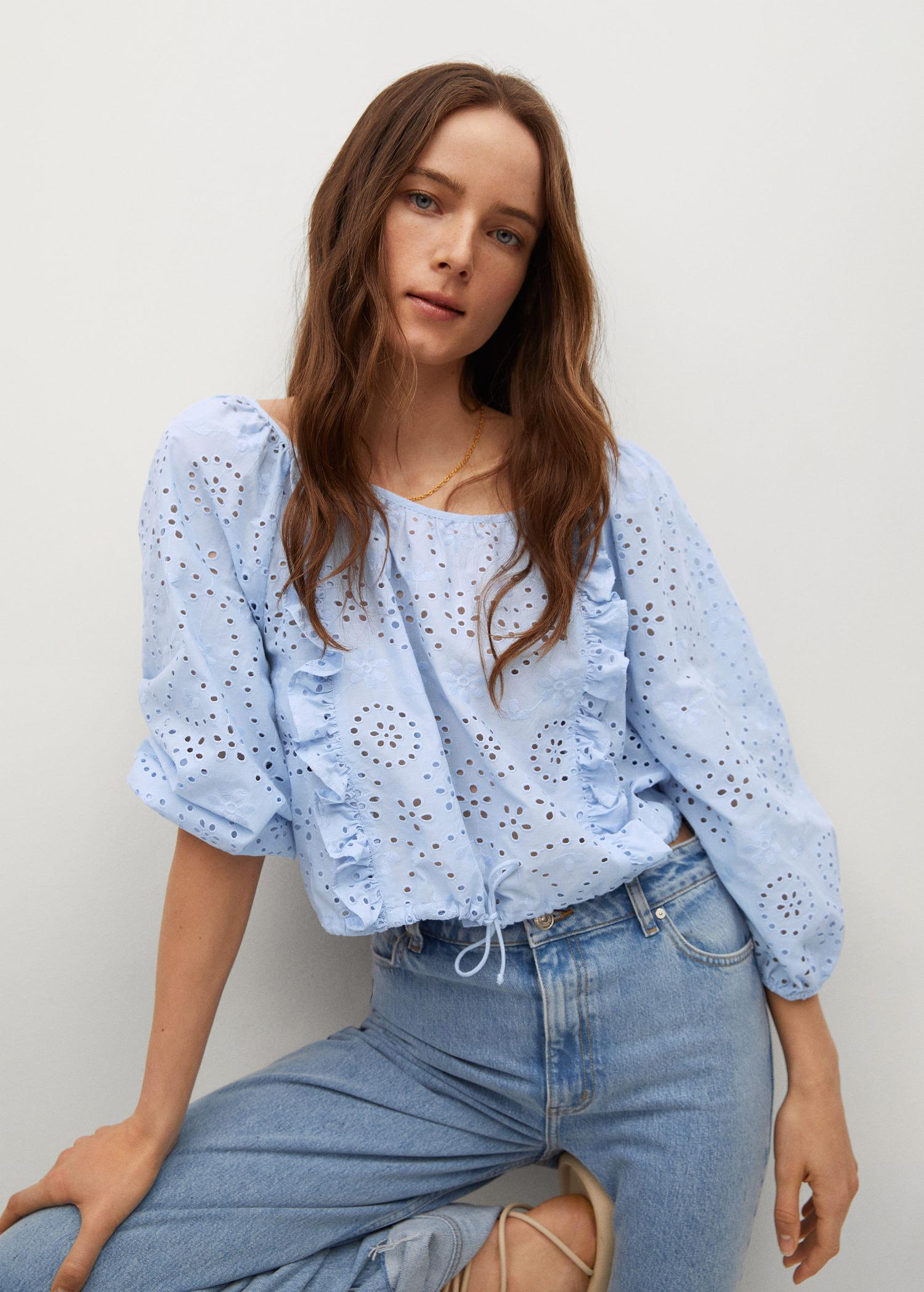 Swiss embroidery cotton blouse