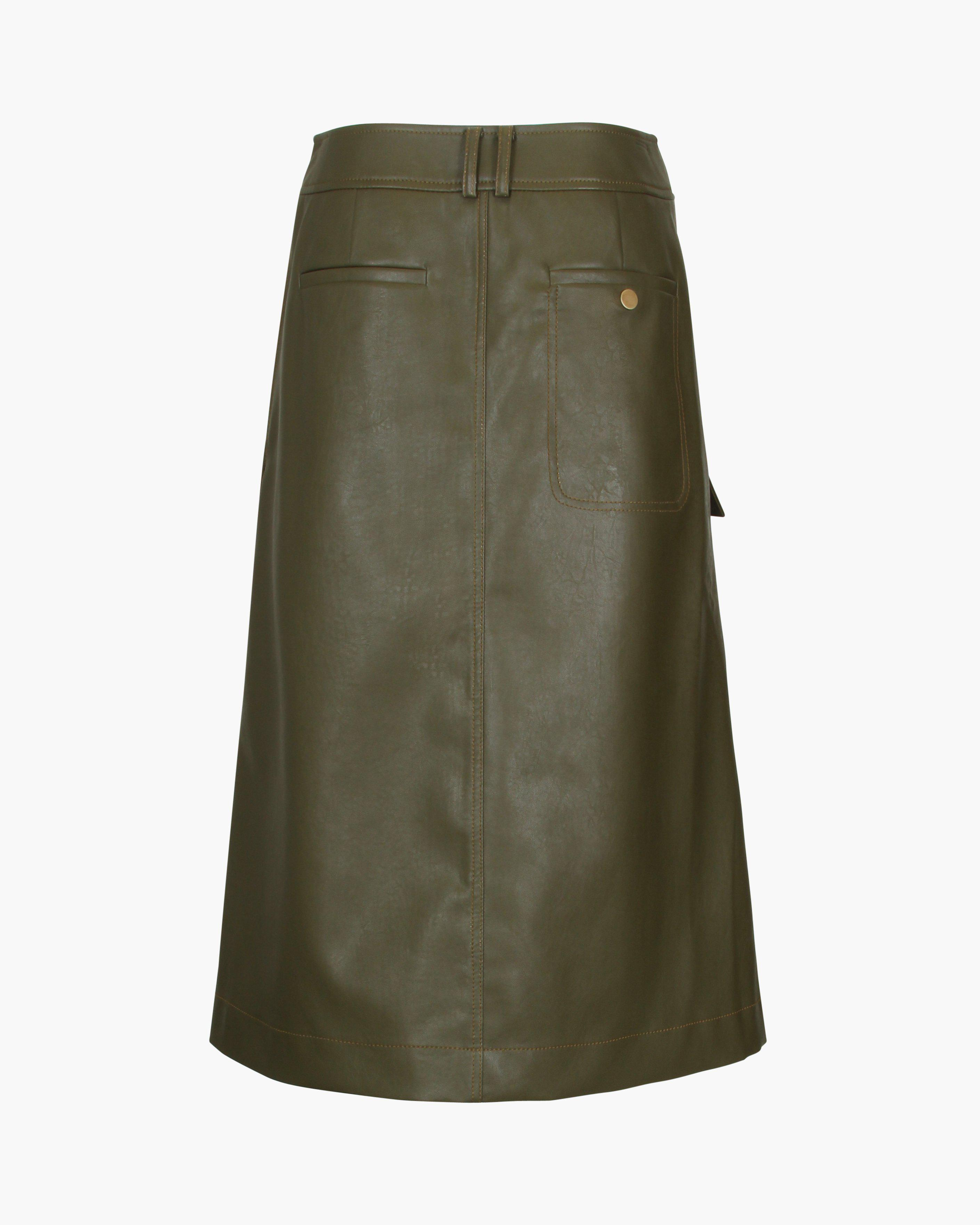 Donna Skirt Faux Leather Marsh Green 3