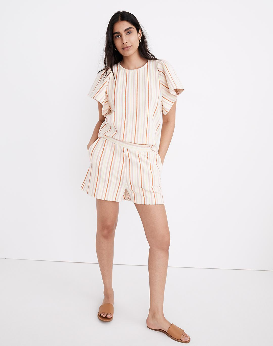 Textural Knit High-Rise Pleated Shorts in Stripe 0