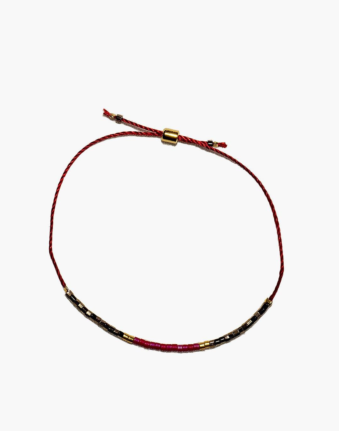 Cast of Stones Beaded Intention Bracelet in Red and Metallic