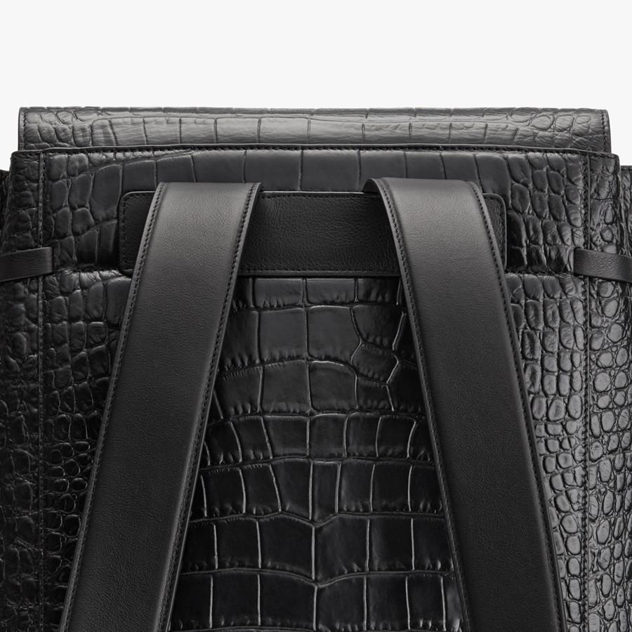 Women's Large Leather Backpack in Textured Black | Croc-Embossed by Cuyana 1