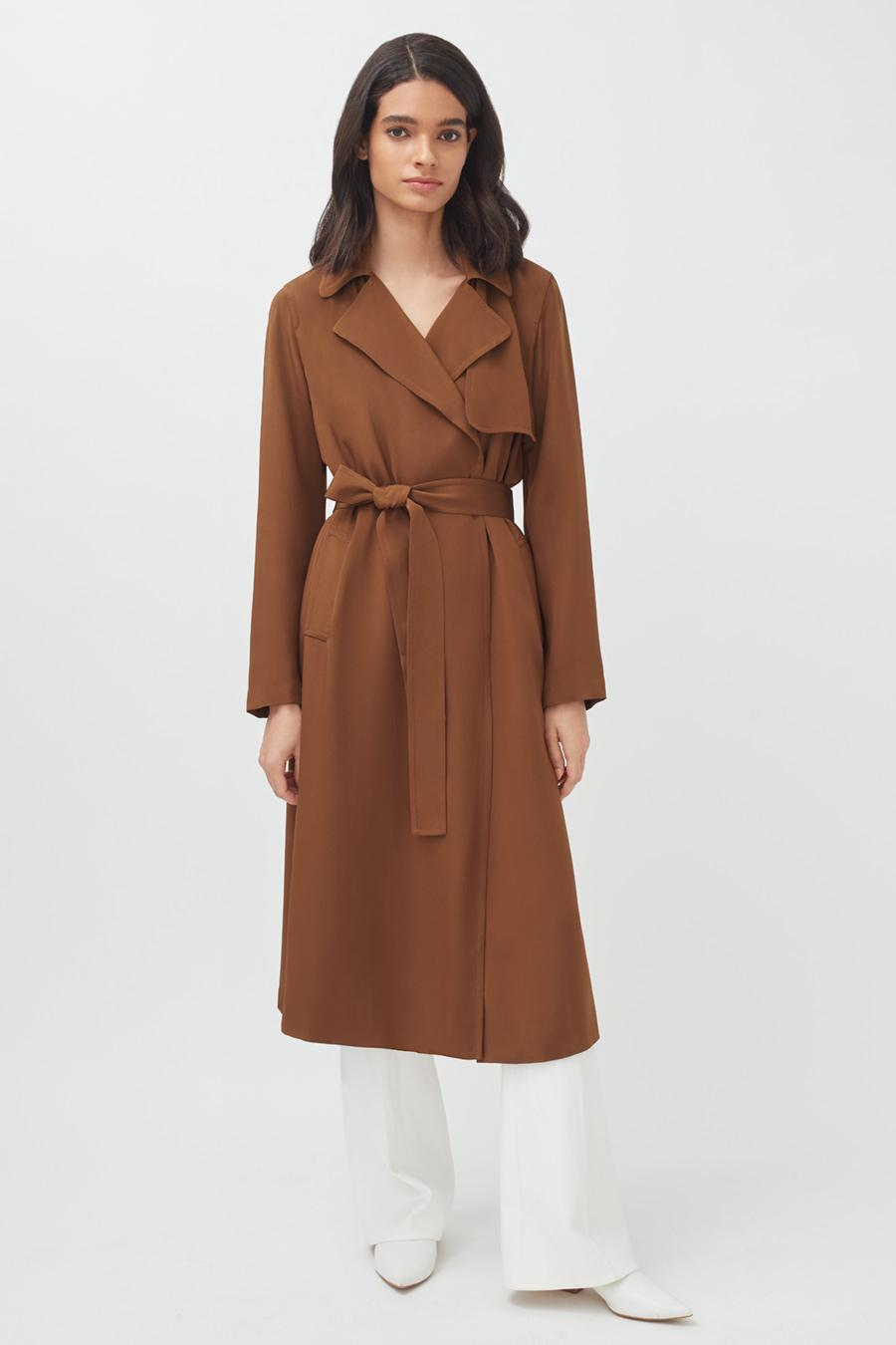 Women's Silk Classic Trench in Chestnut   Size: 4