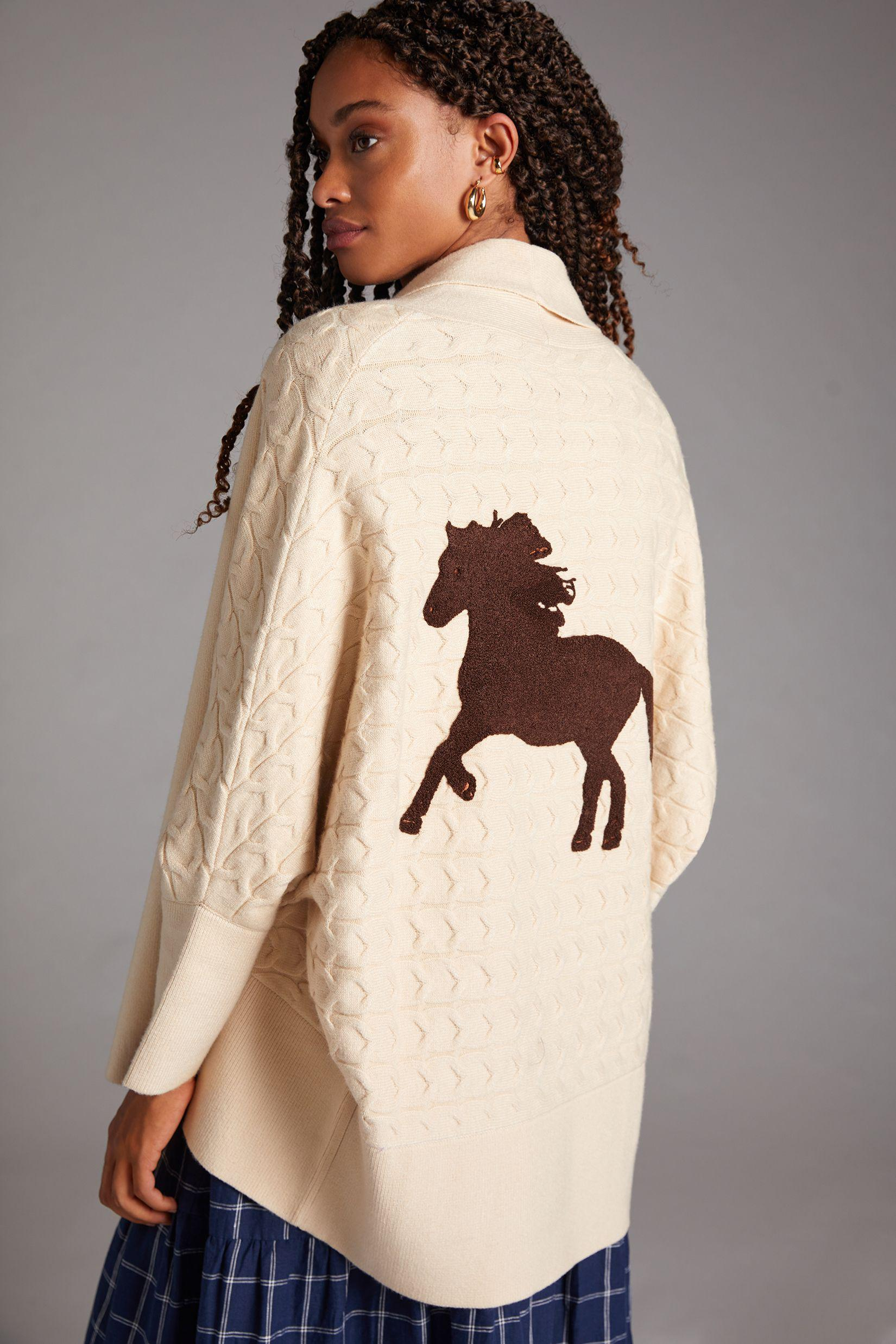 Horses Cable-Knit Cardigan