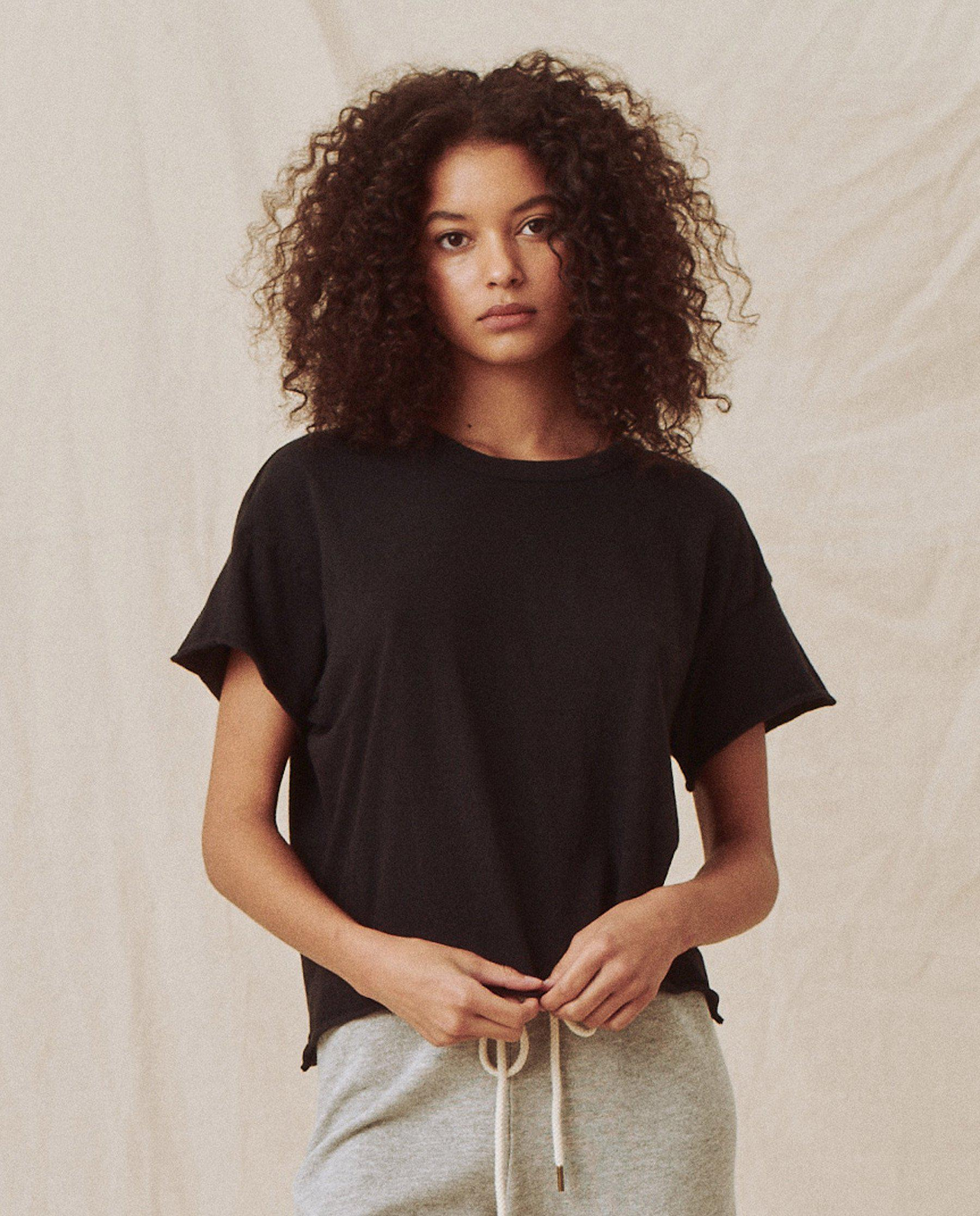 The Crop Tee. Solid -- ALMOST BLACK