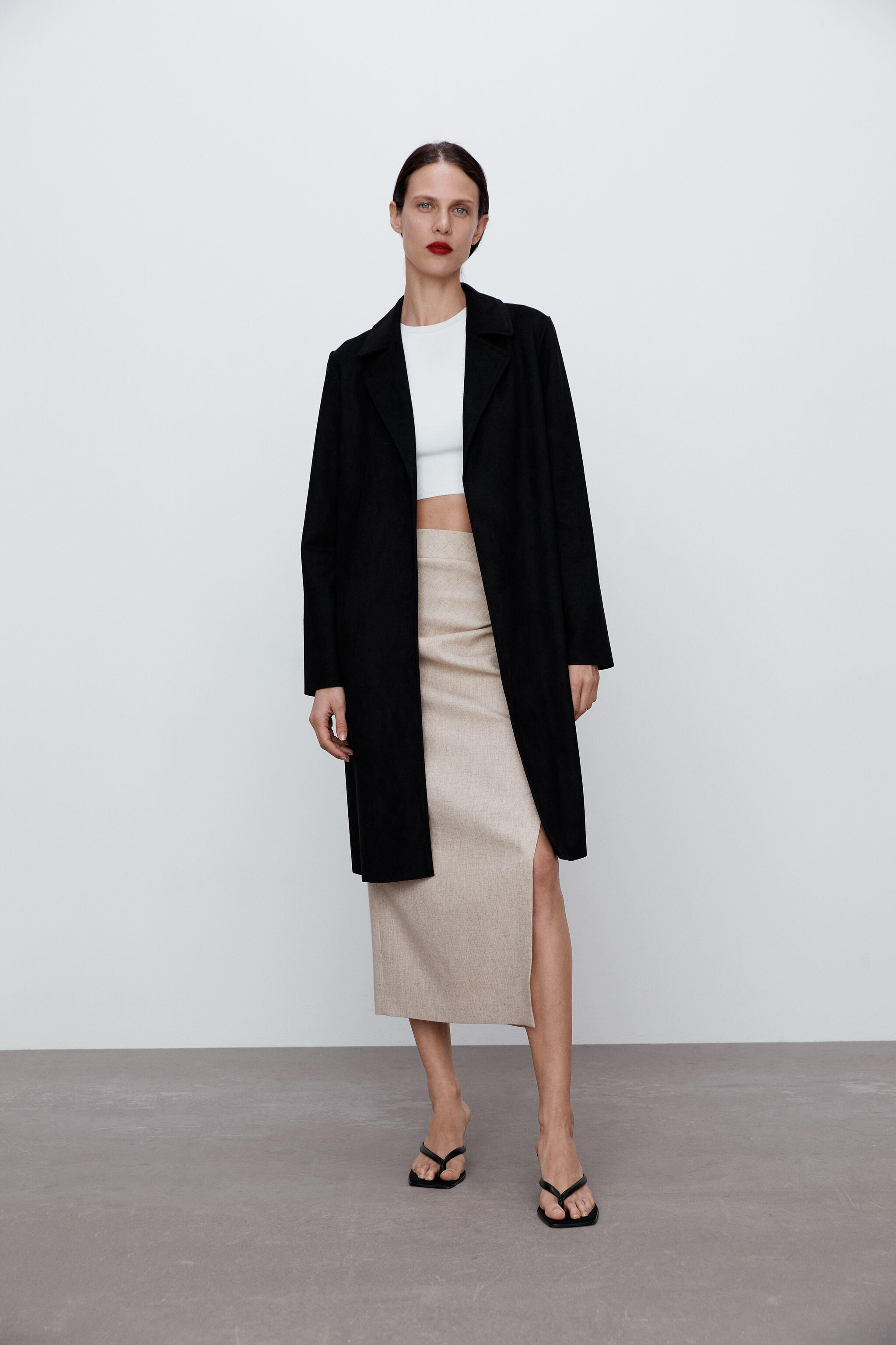 FAUX SUEDE TWILL COAT