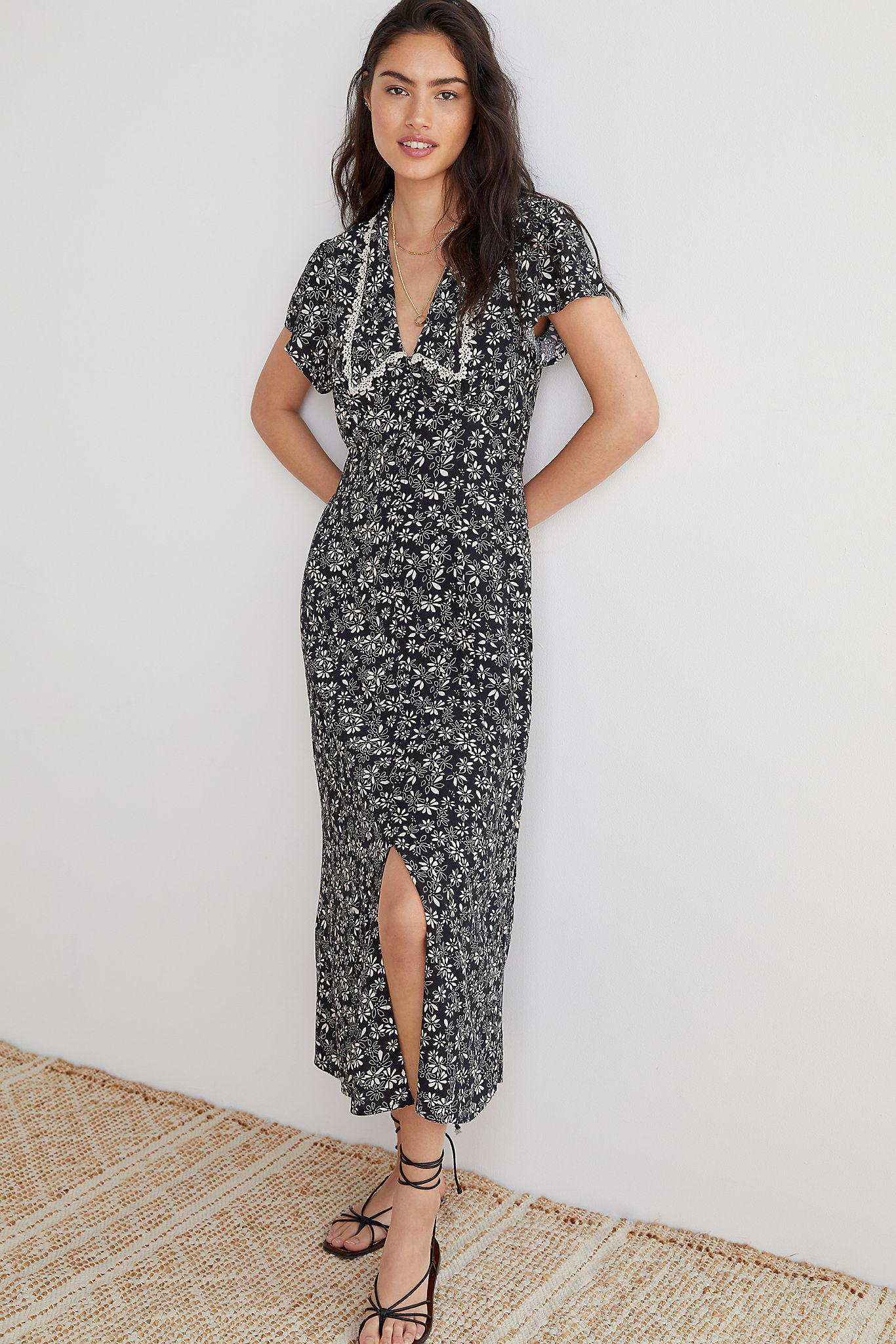 Collared Floral Maxi Dress