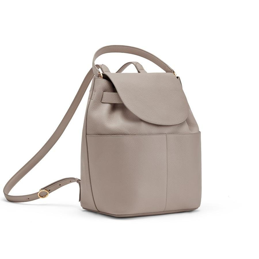 Women's Leather Backpack in Stone | Pebbled Leather by Cuyana