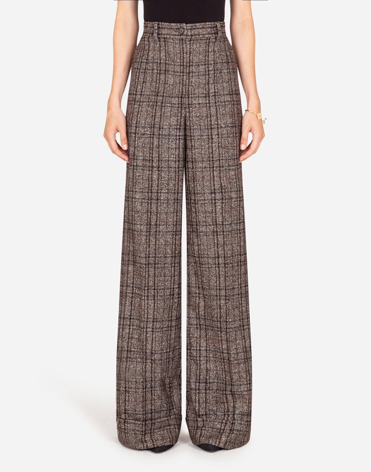 Flared pants in checked tartan