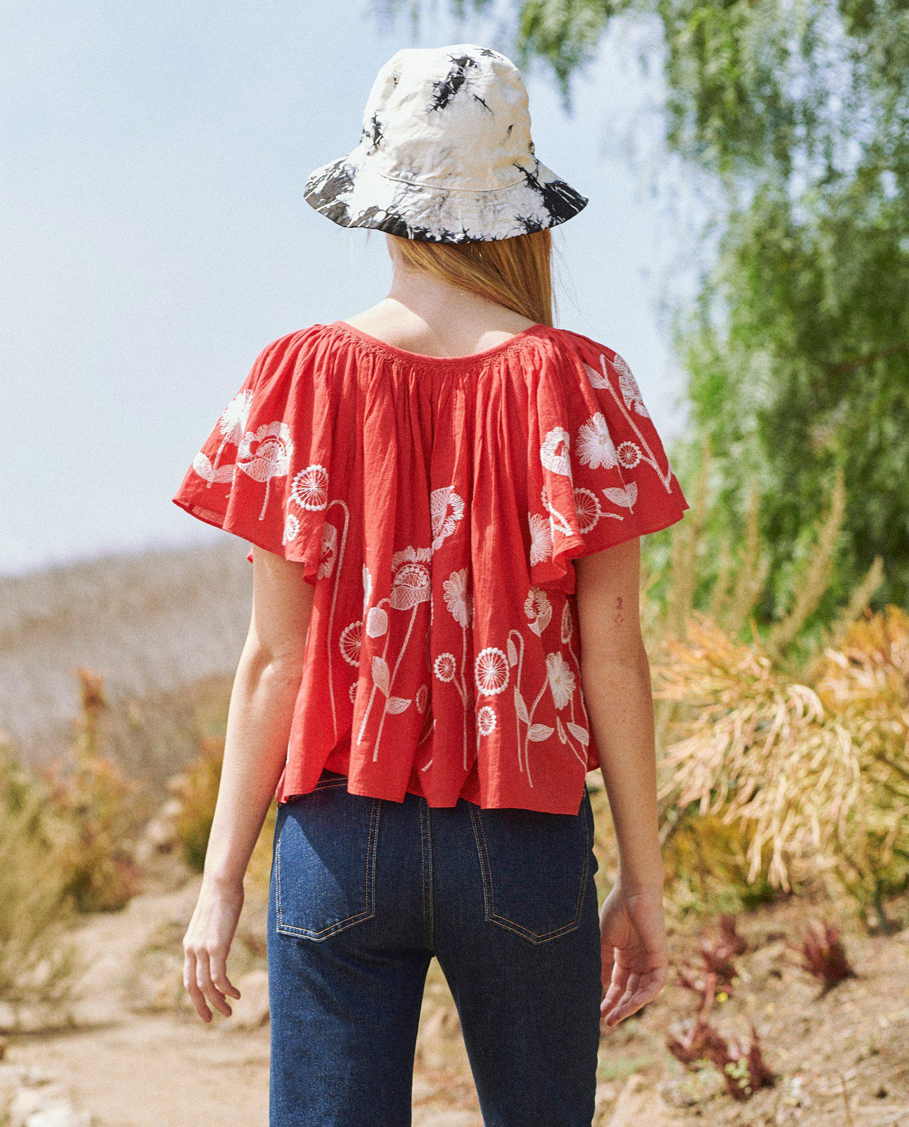 The Dale Top. -- Cherry Red with Trellis Floral Embroidery 2