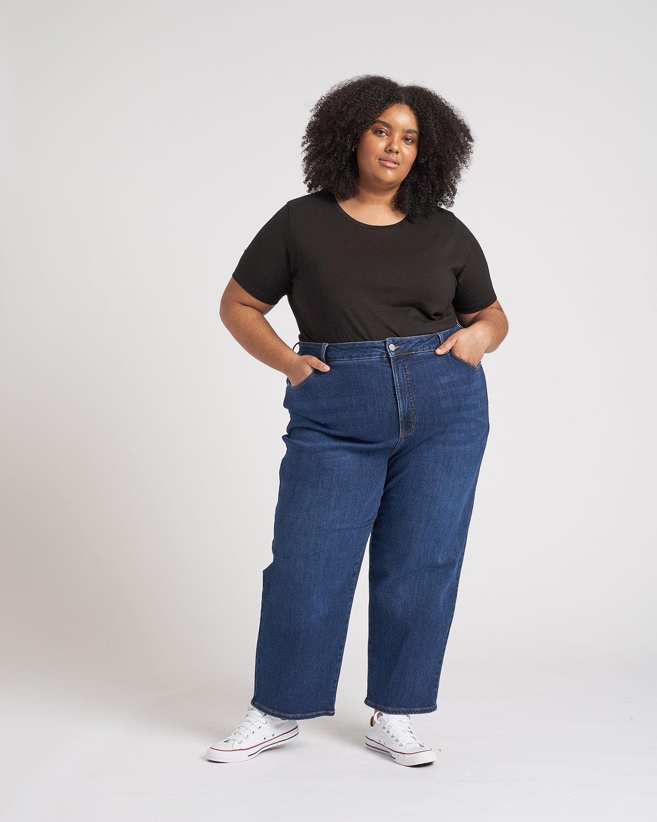 Donna High Rise Curve Straight Leg Jeans 27 Inch