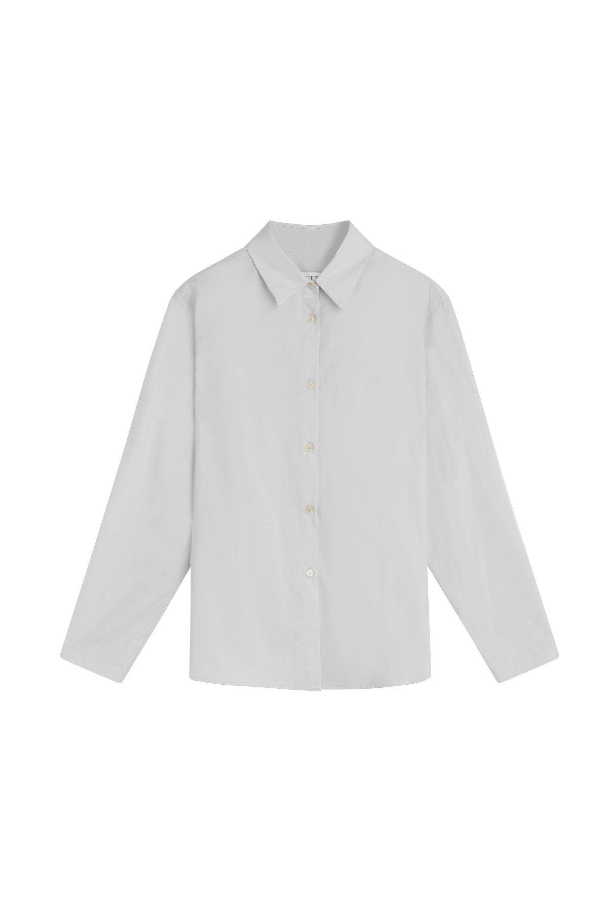 Elle Oversized Button Down - Pearl 5