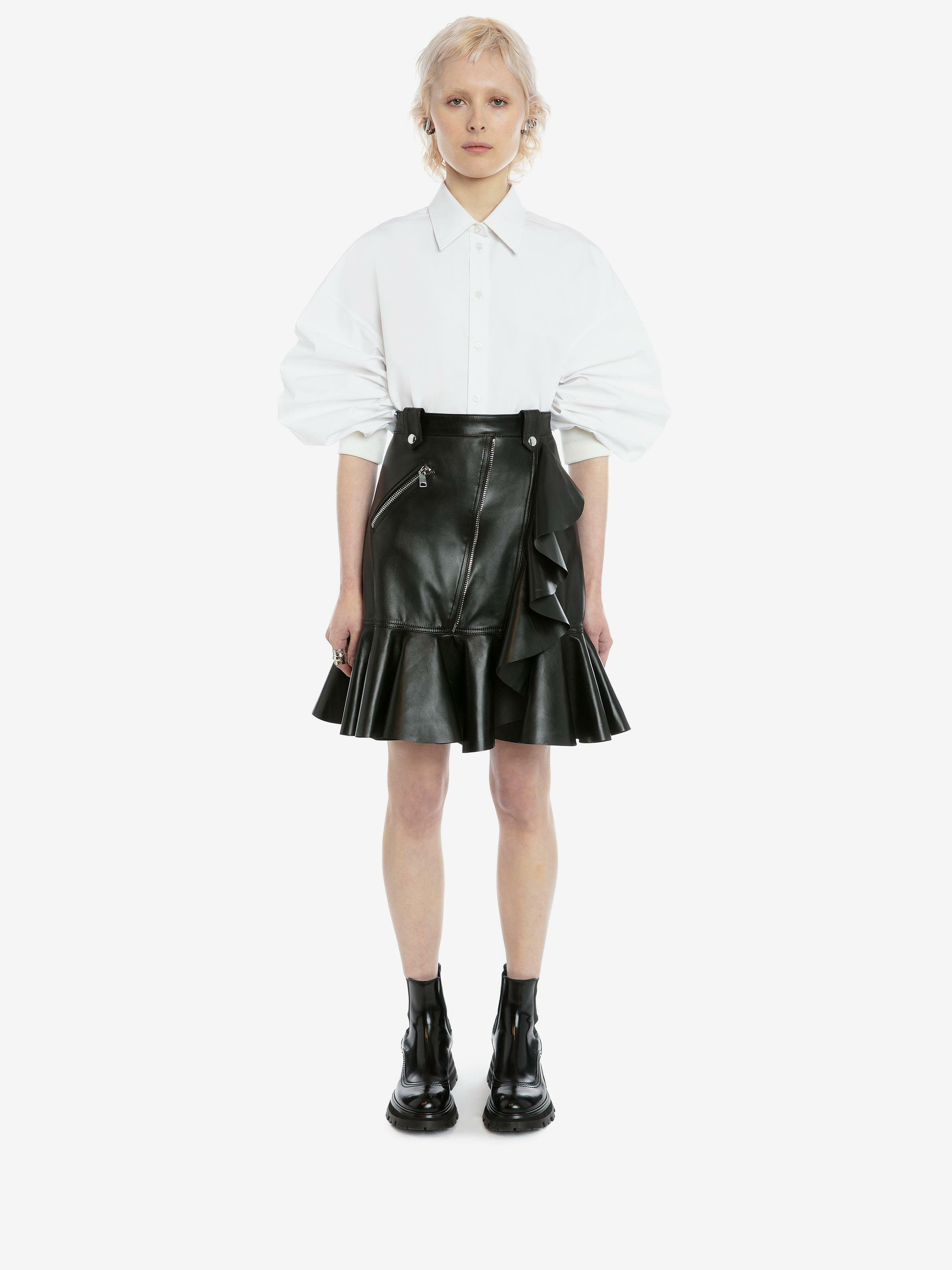 Leather Mini Skirt with Ruffle Detail
