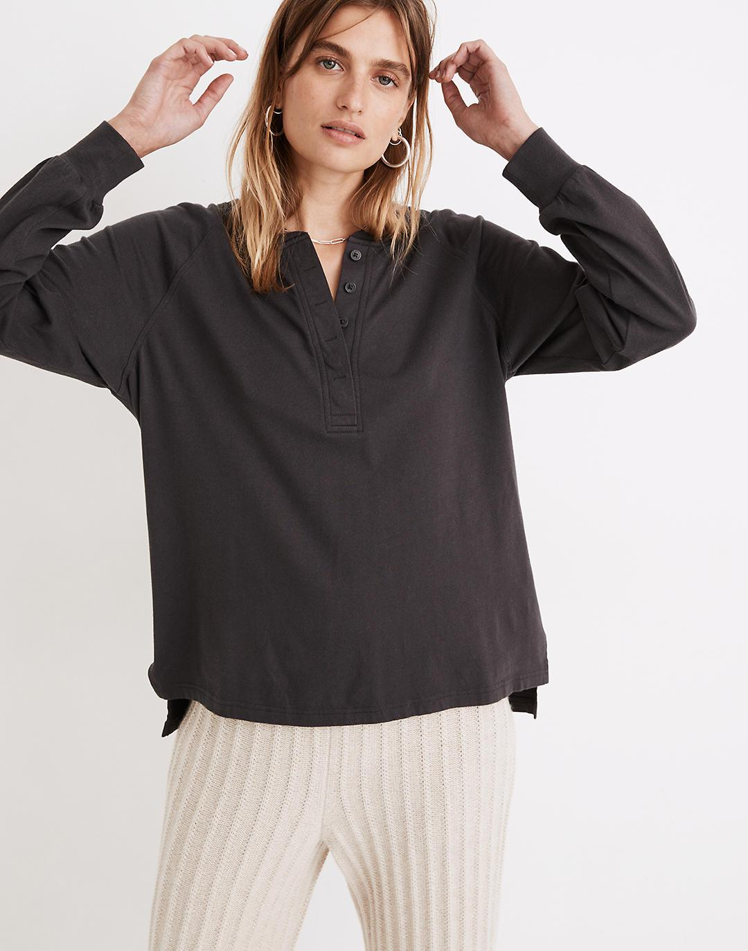 (Re)sourced Cotton Henley Relaxed Tee