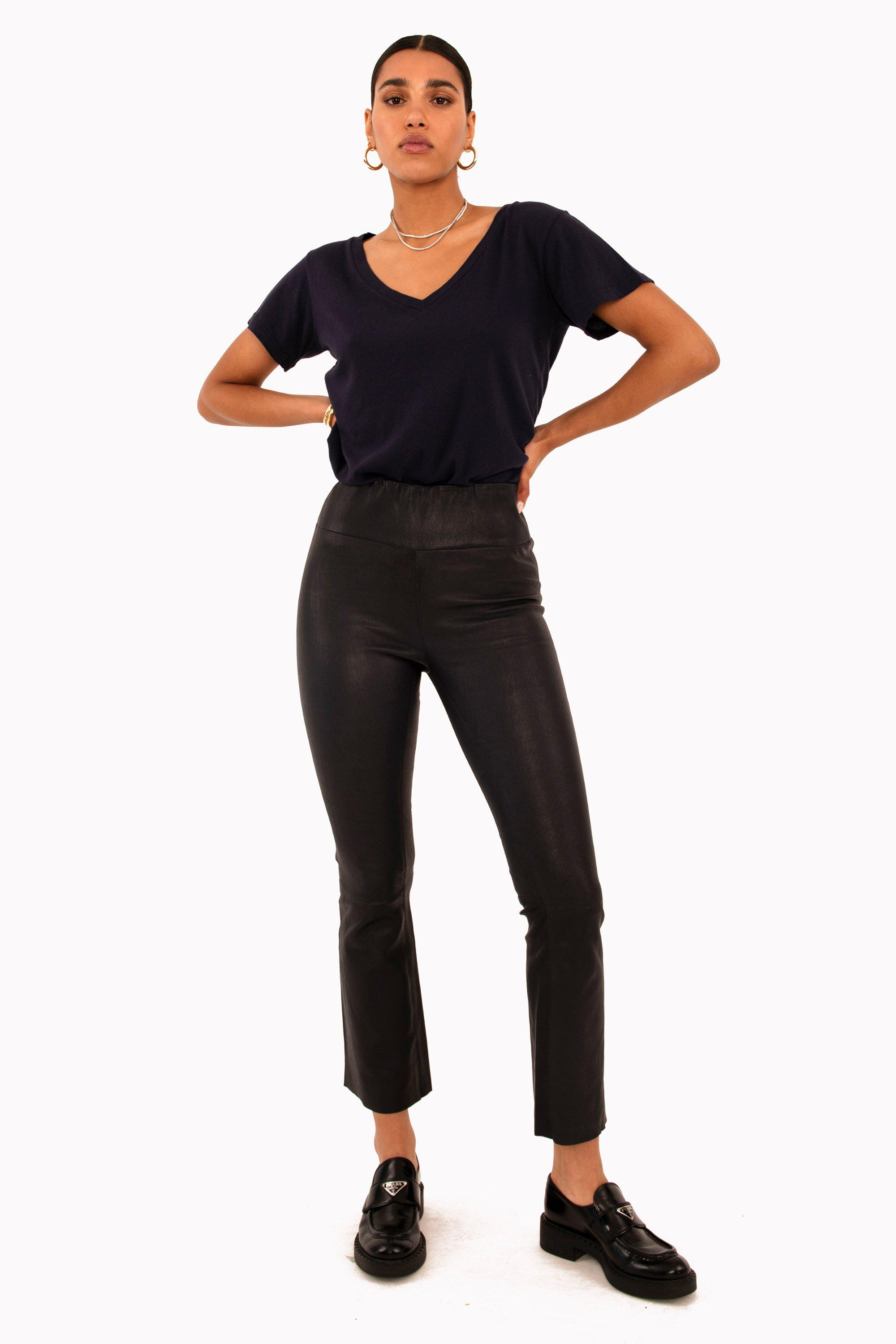 Anthracite Leather Ankle Flare Legging