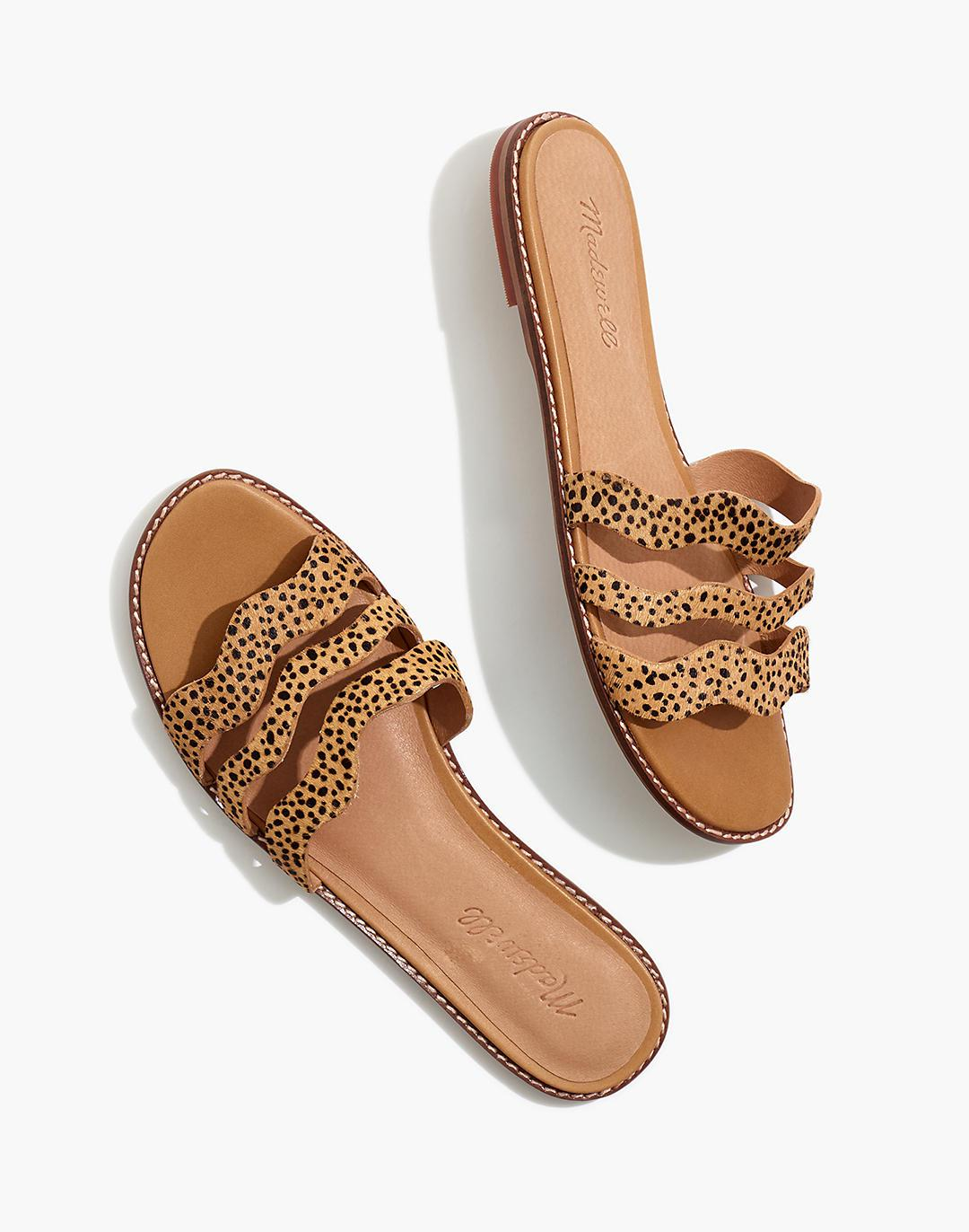 The Wave Slide Sandal in Spotted Calf Hair