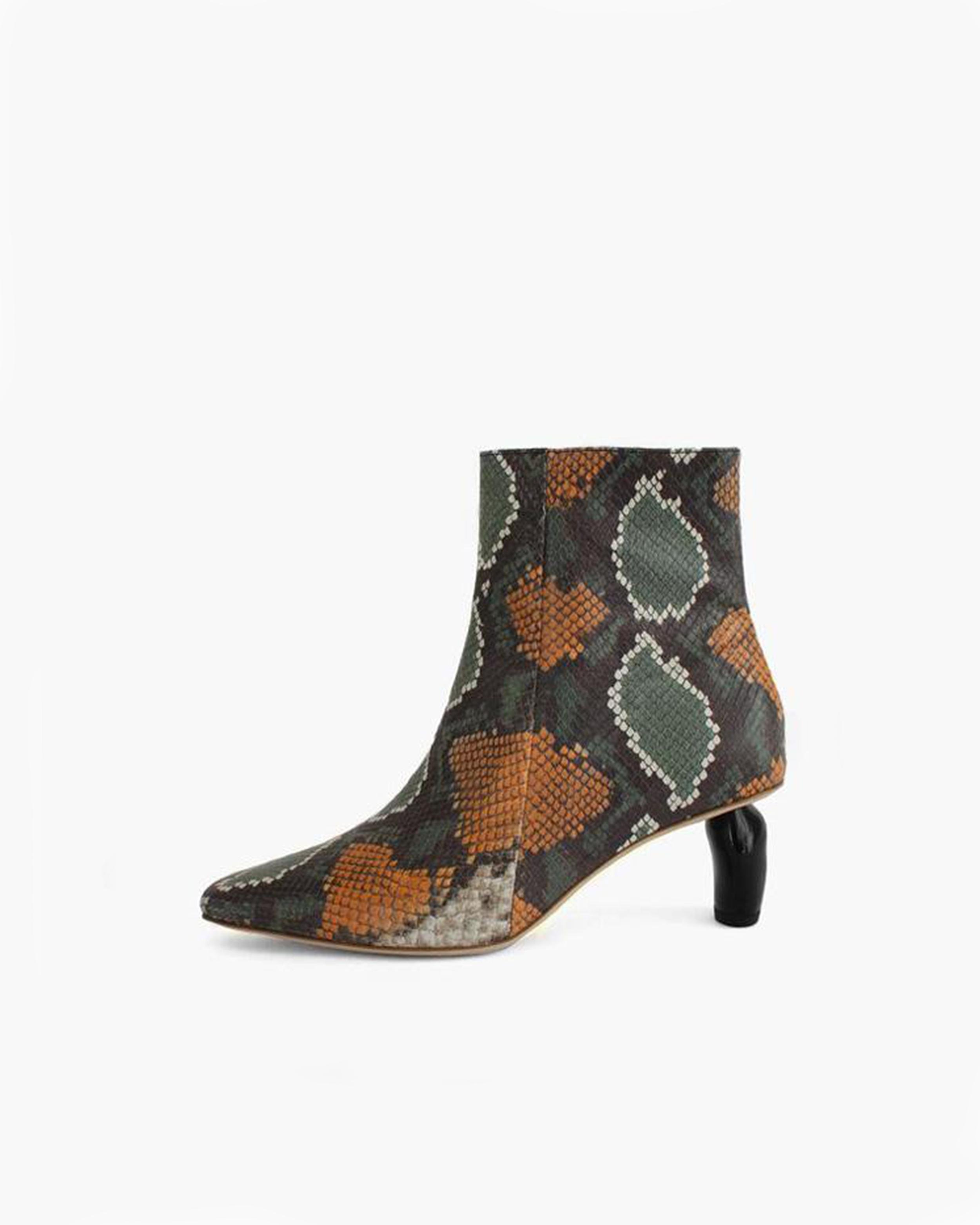 Annie Boots Leather Snake Multi with Black Heels