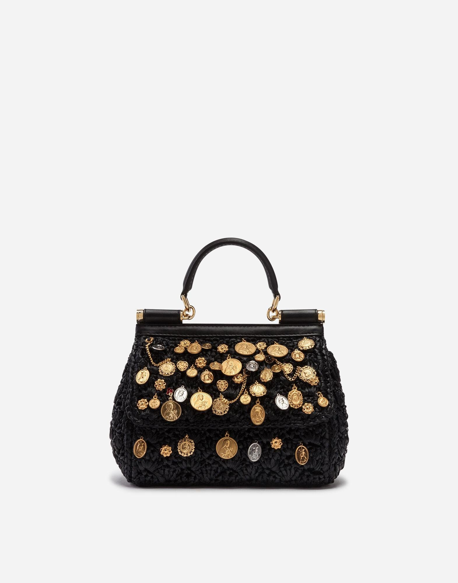 Small Sicily bag in raffia crochet with applications