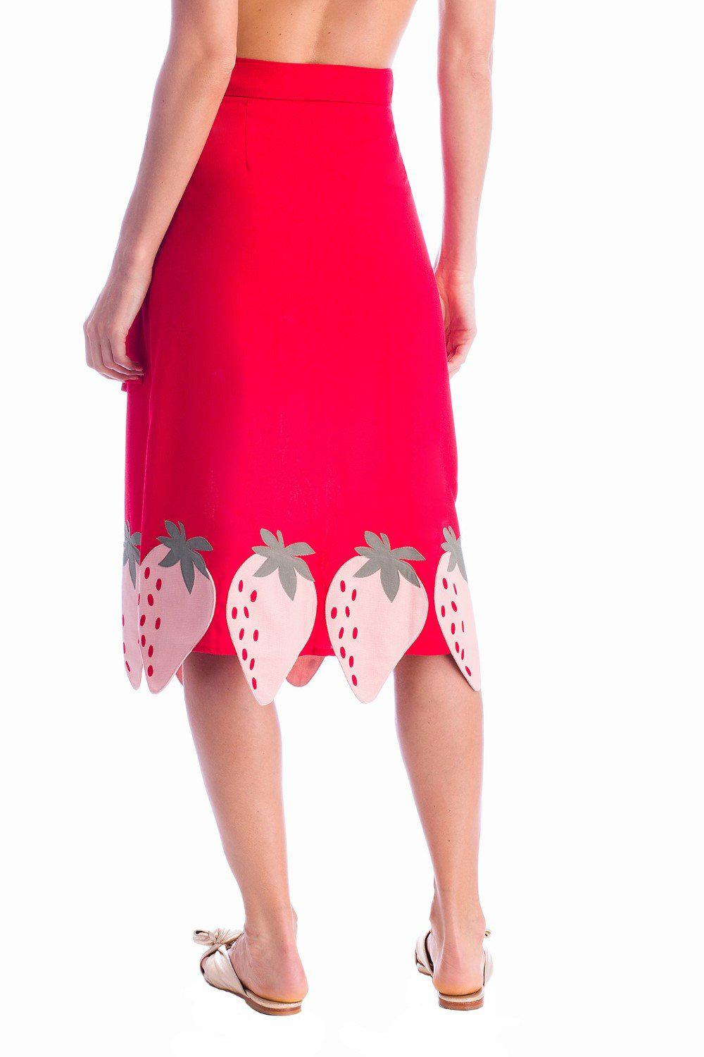 Solid Midi Skirt With Strawberry Detail 4