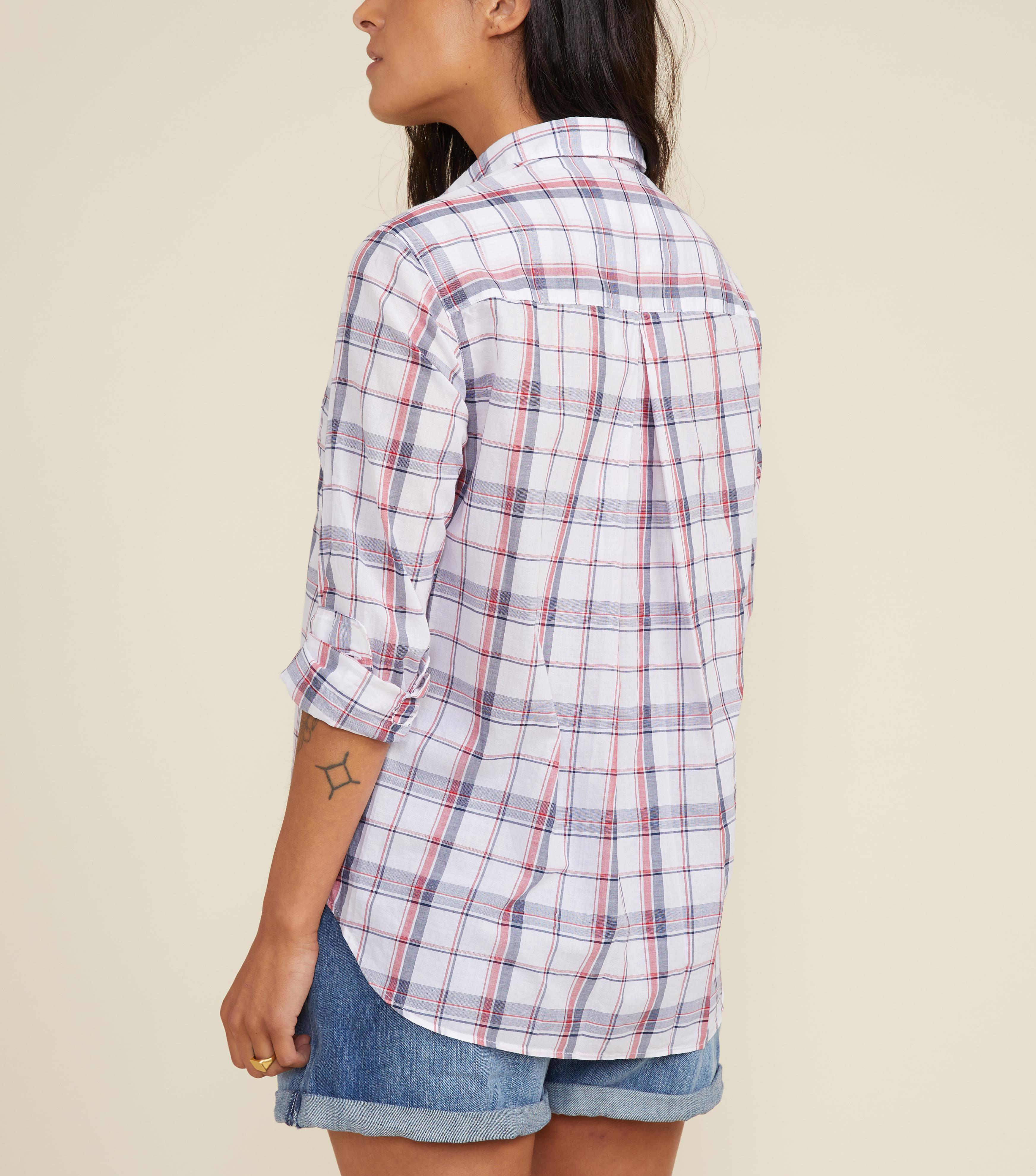 The Hero White with Navy and Red Plaid, Tissue Cotton Final Sale 3