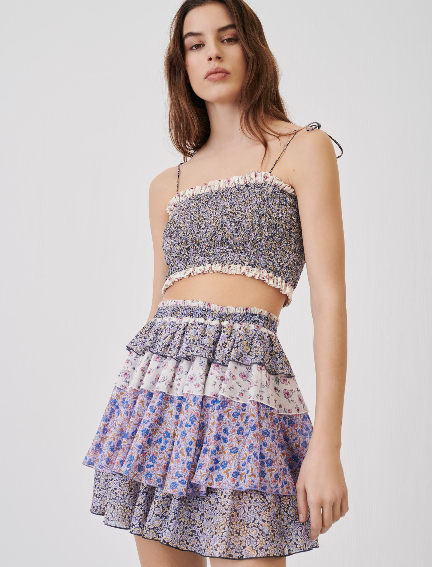 PRINTED COTTON VOILE SKIRT WITH RUFFLES