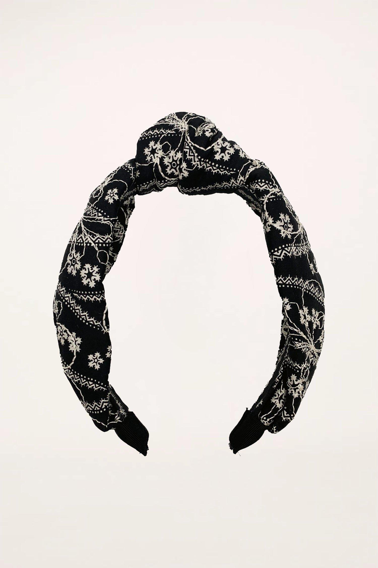 Posies Butterfly Quilted Headband Black