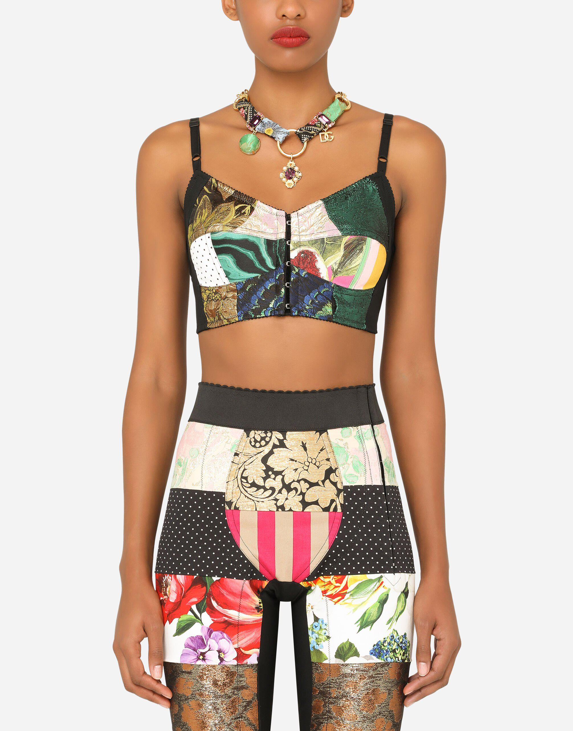 Patchwork drill and brocade jacquard bustier top 0