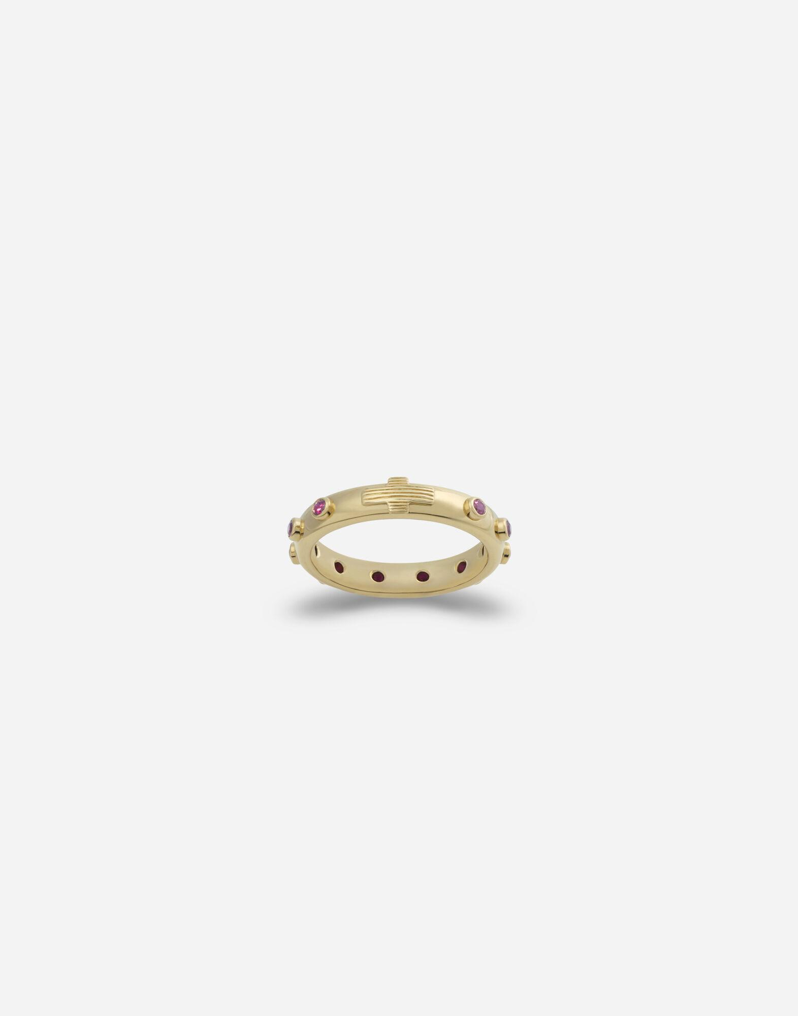 Devotion band in yellow gold with rubies
