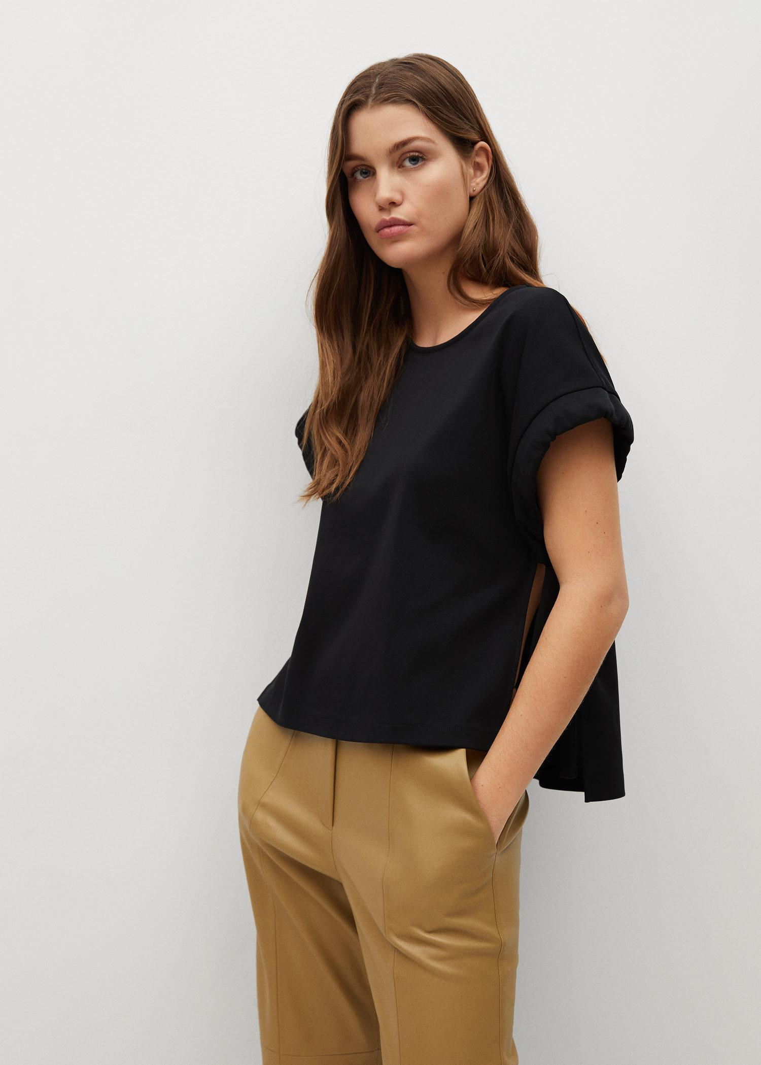 Cotton t-shirt with side opening
