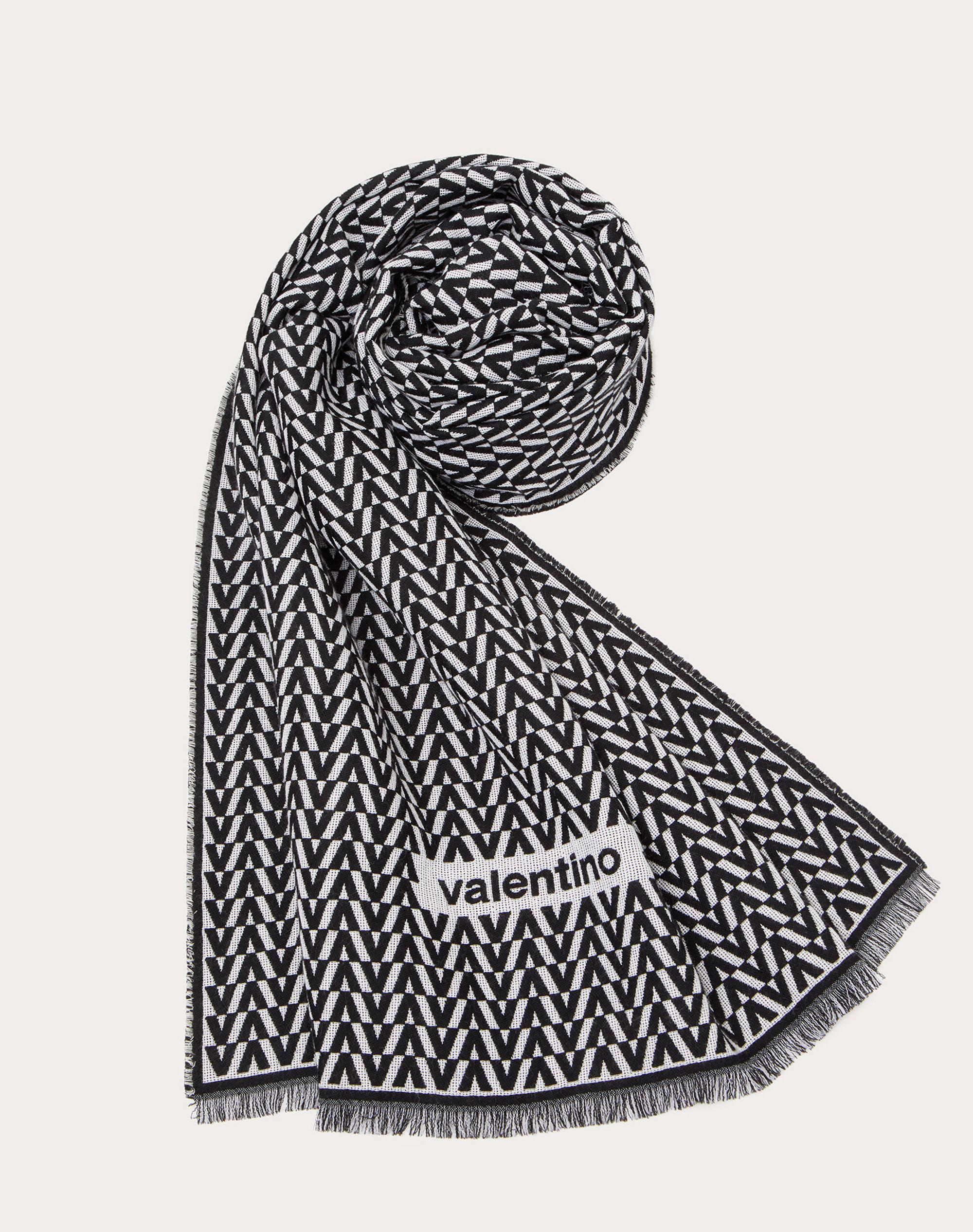 Optical Valentino Jacquard Stole in wool, cashmere and silk 75x200 cm