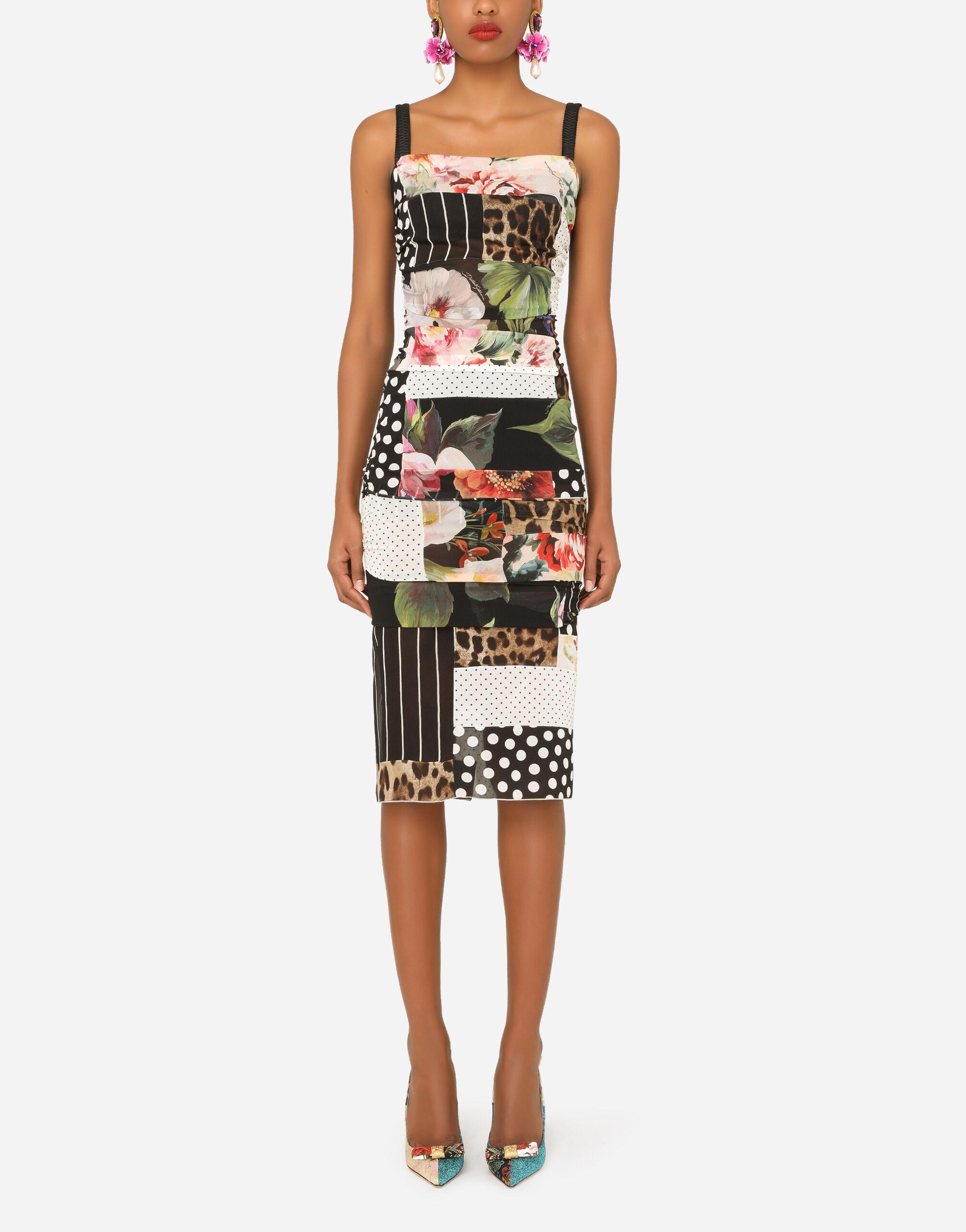 Patchwork chiffon and georgette dress with draping