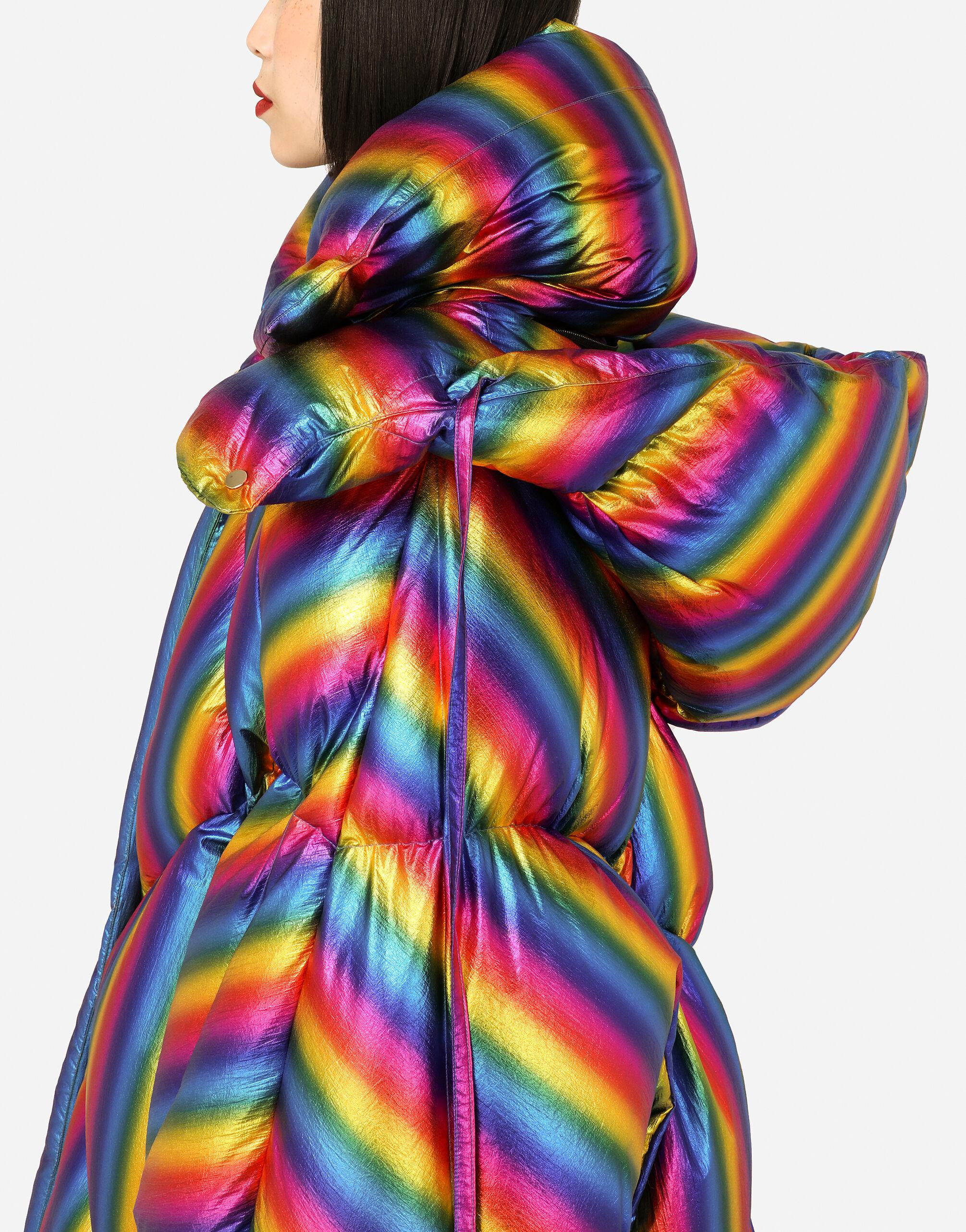 Foiled nylon down jacket with multi-colored stripes 6