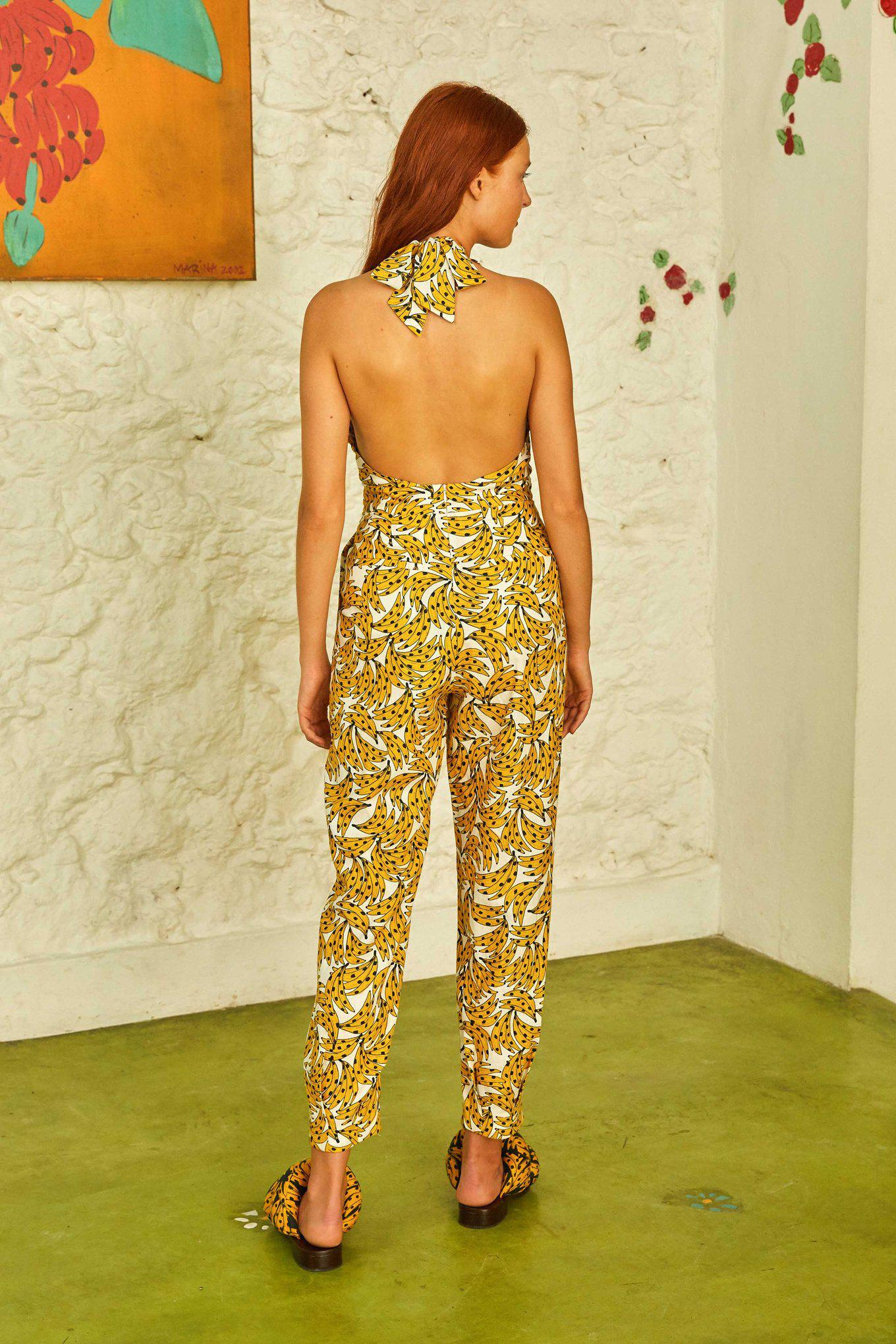White Spotted Bananas Jumpsuit 2