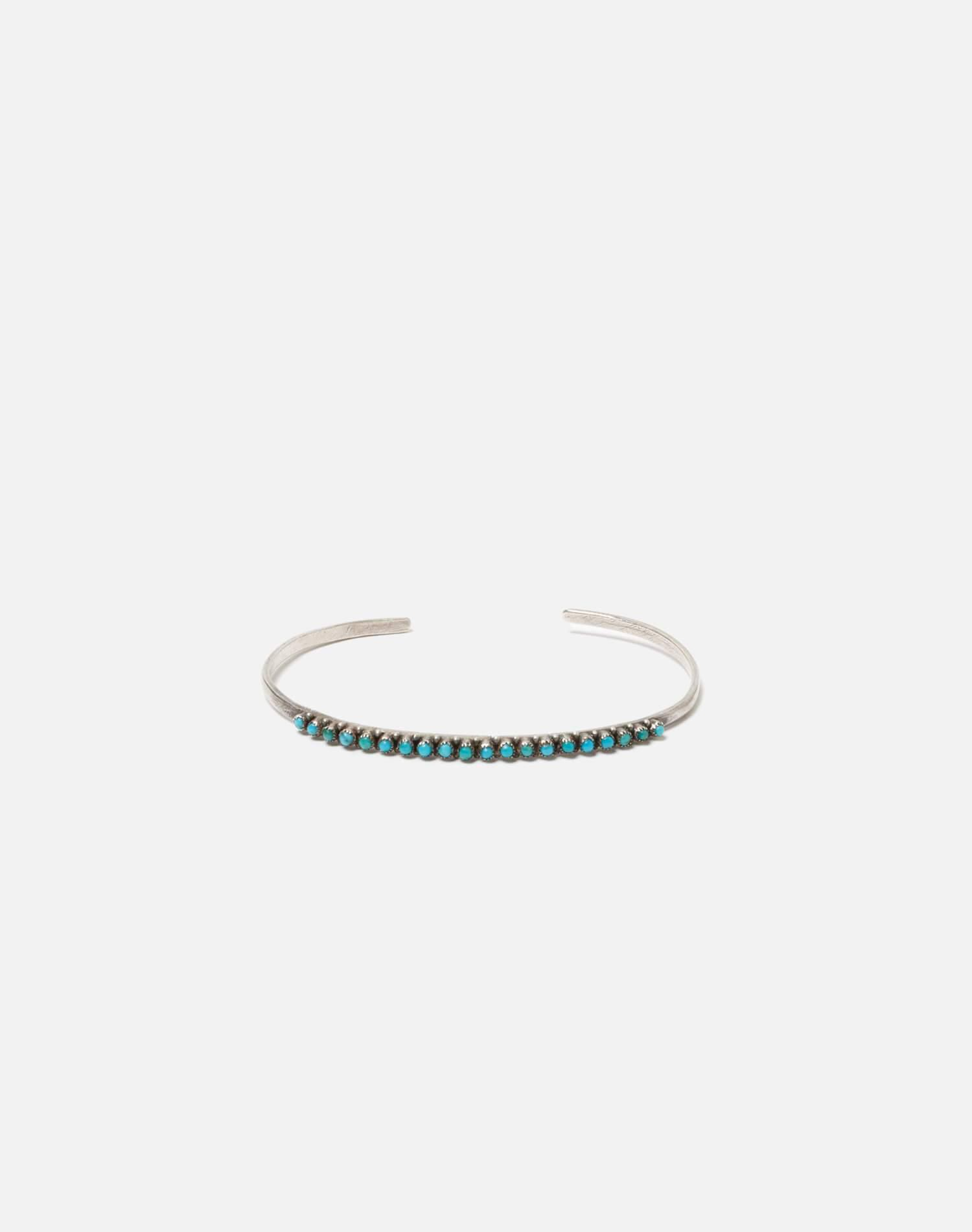 1940s Sterling Silver And Turquoise Zuni Snake Eyes Bracelet - #87