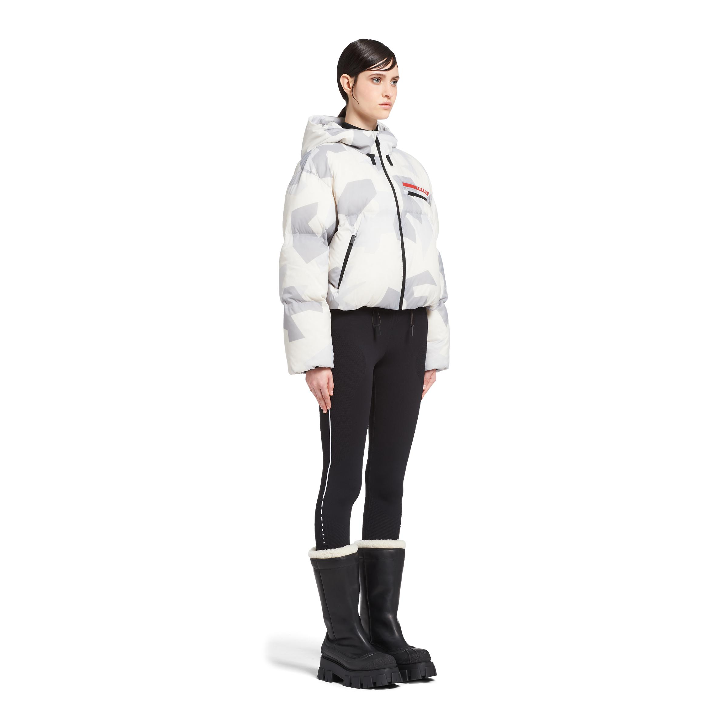 Cropped Camouflage Print Nylon Puffer Jacket Women Marble Gray 2