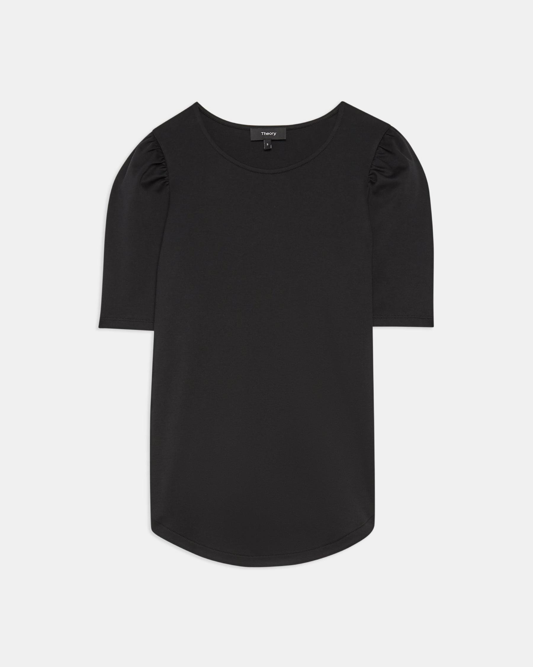 Short-Sleeve Ruched Tee in Cotton Jersey 5