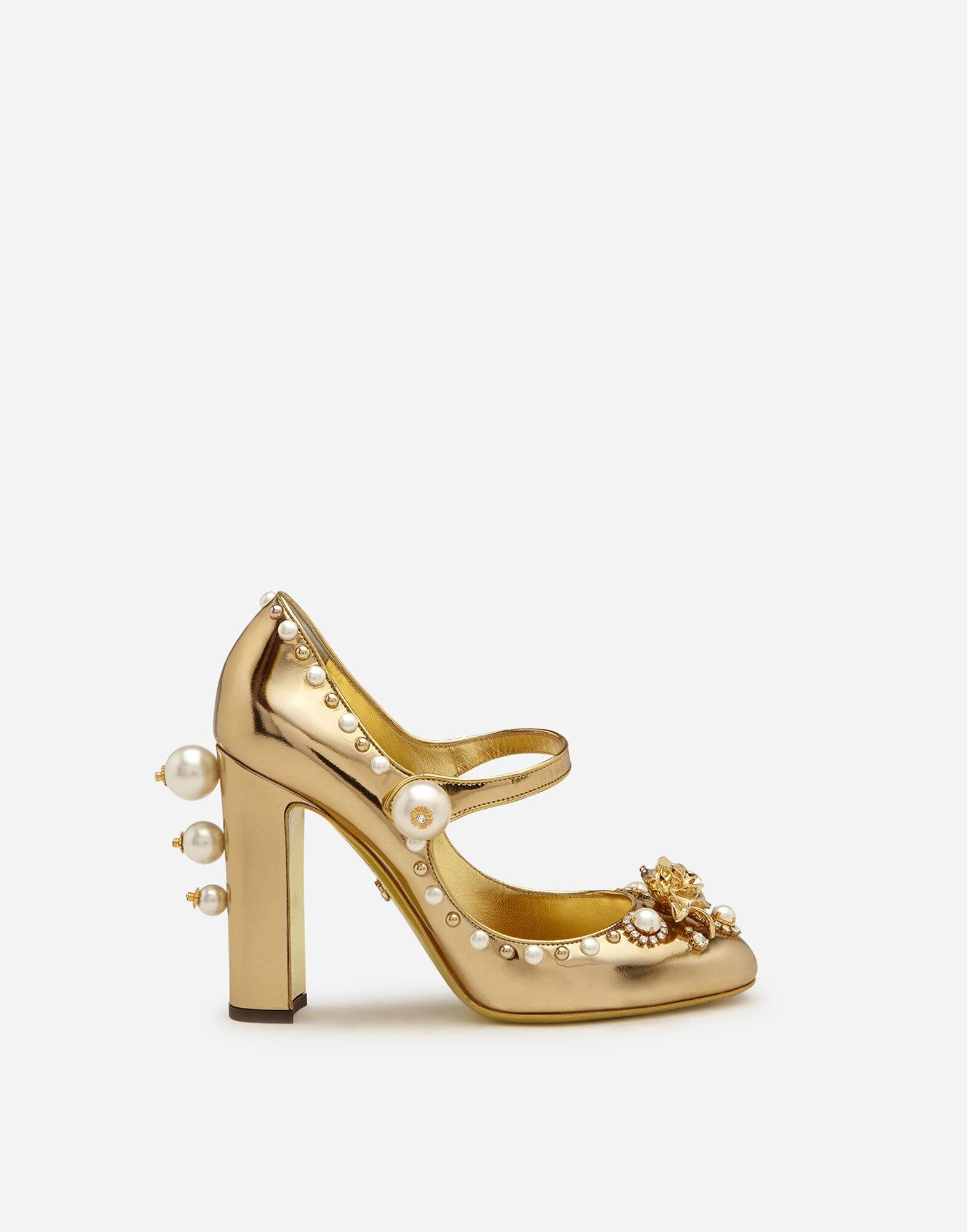 Mirrored calfskin Mary Jane shoes with jewel embroidery