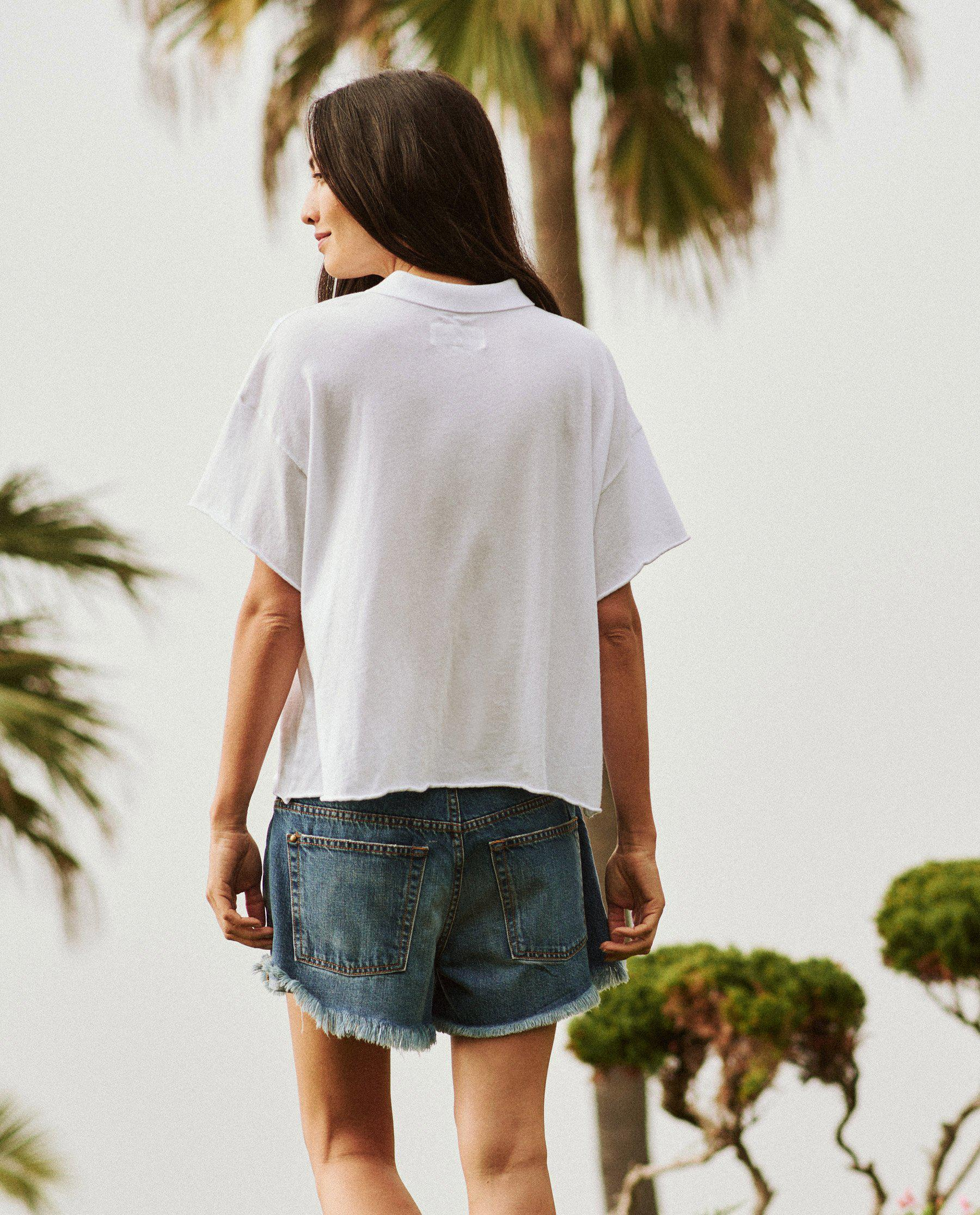 The Cropped Polo Tee. -- True White 3