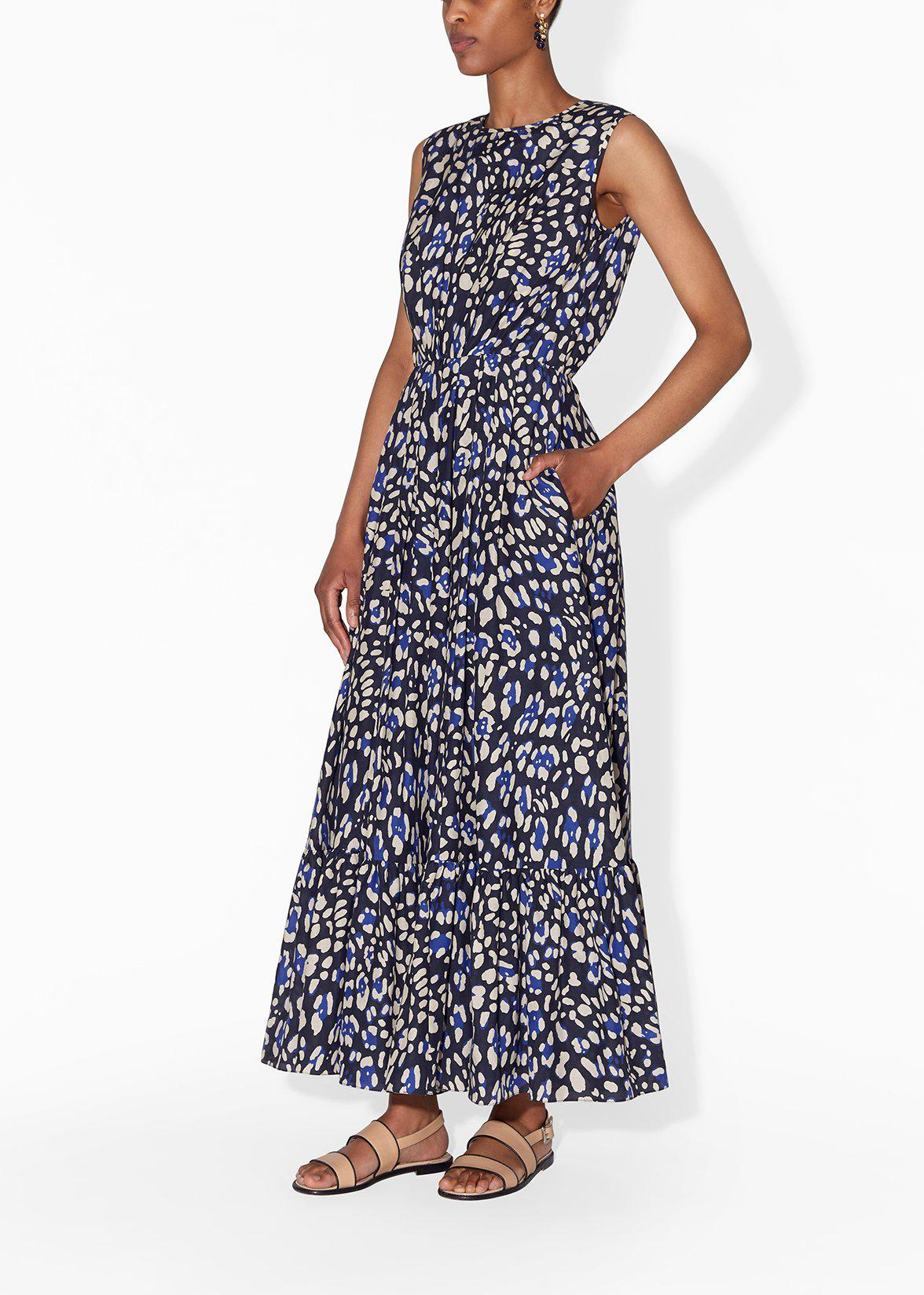 GATHERED WAIST DRESS IN PRINTED COTTON VOILE