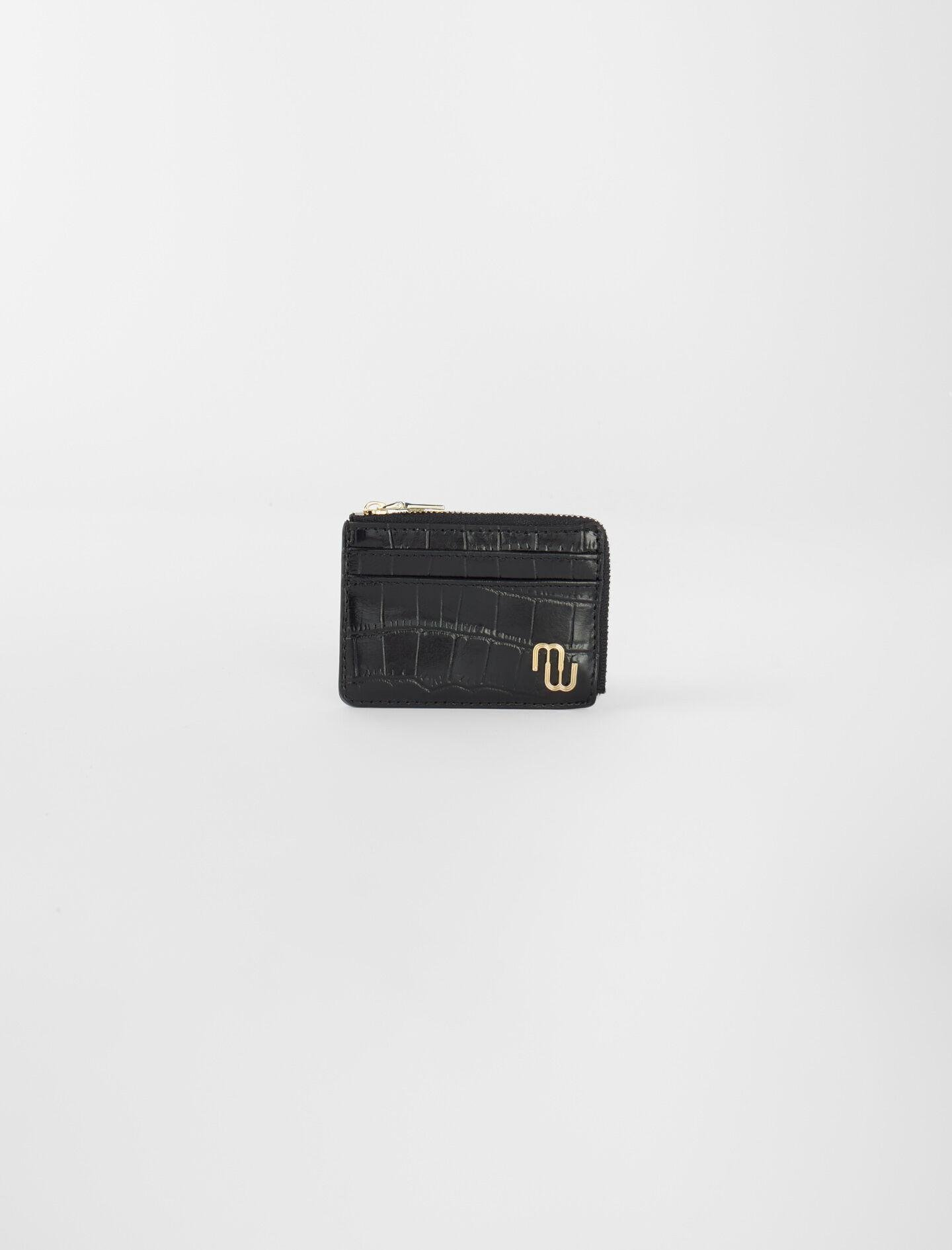 EMBOSSED LEATHER ZIP-UP CARD HOLDER