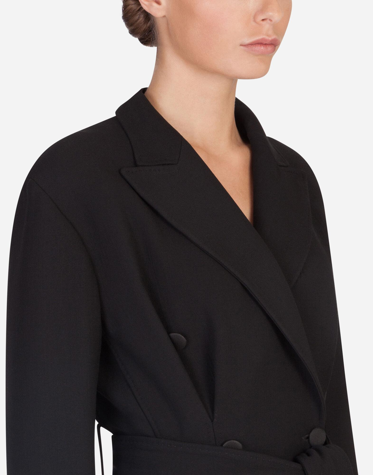 Belted double-breasted crepe coat 4