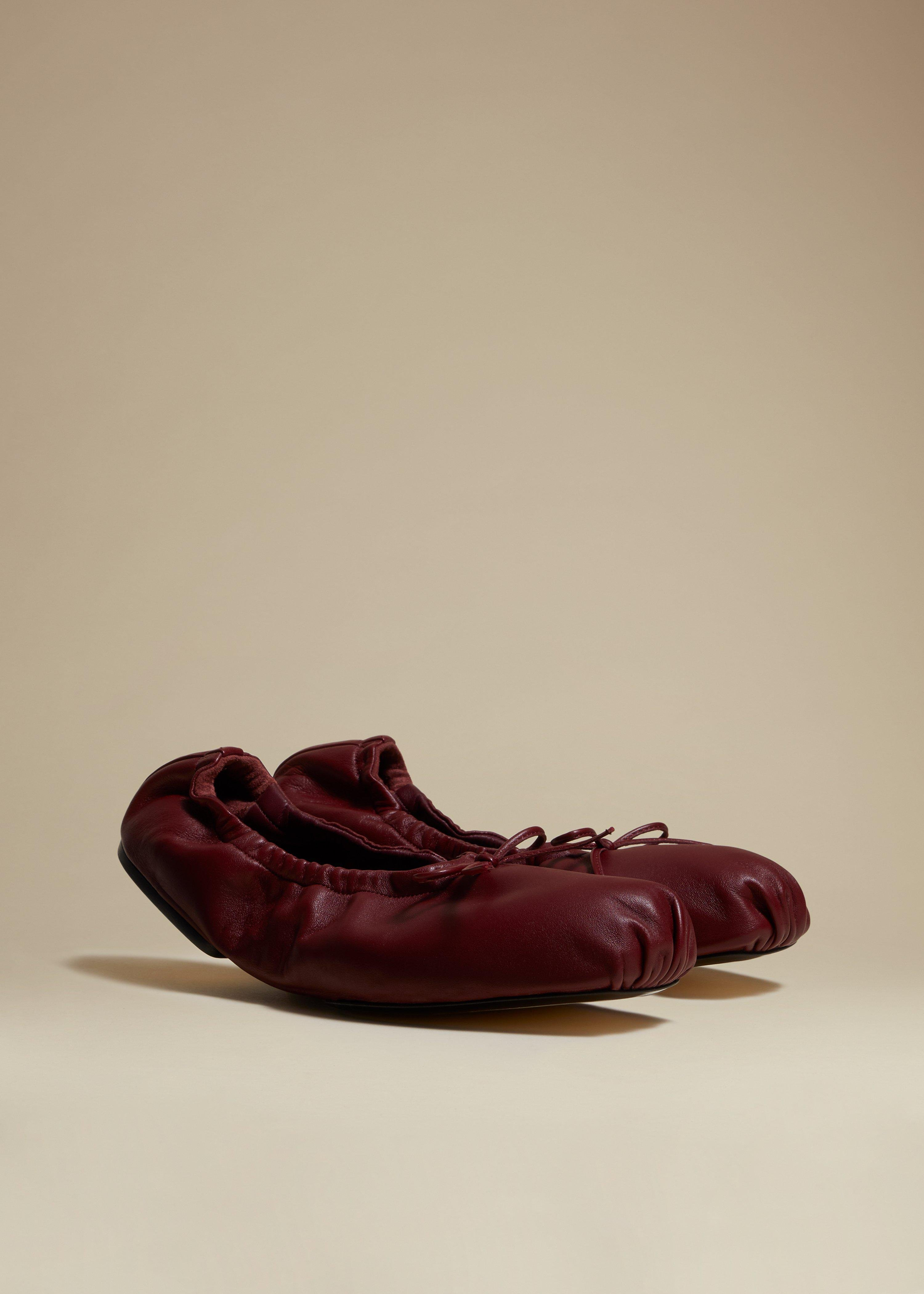 The Ashland Ballet Flat in Bordeaux Leather 1