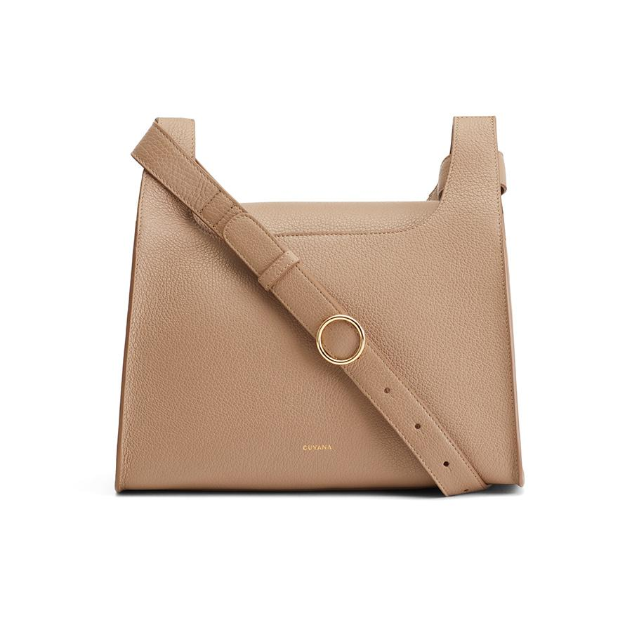 Women's Double Loop Bag in Cappuccino | Pebbled Leather by Cuyana
