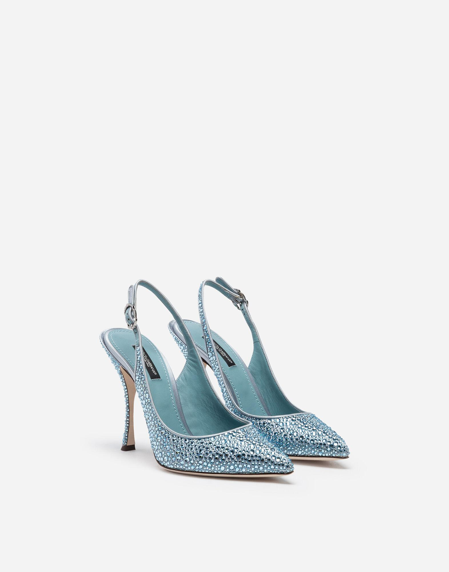 Sling backs in satin and crystal 1