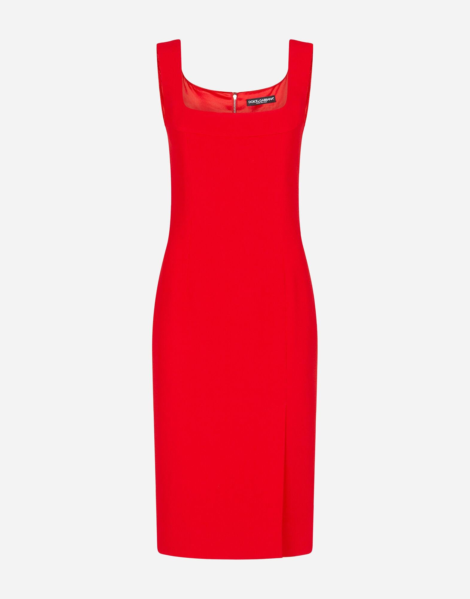 Midi dress in cady fabric with slit 3