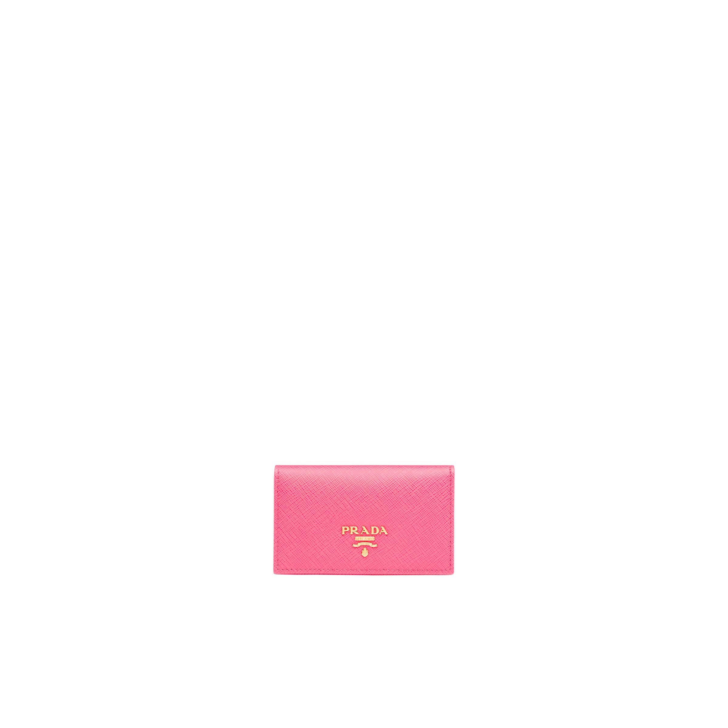Saffiano Leather Card Holder Women Peony Pink