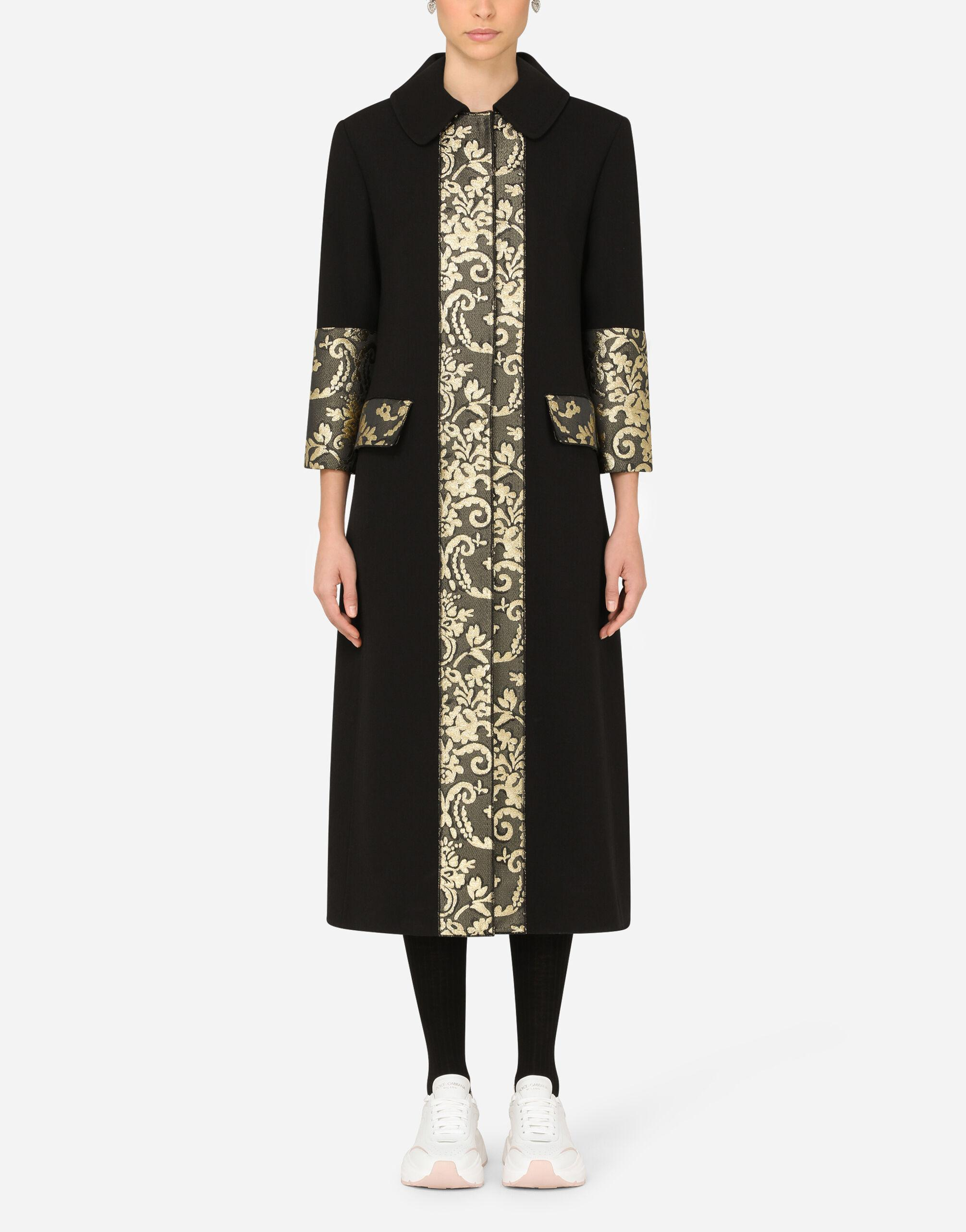 Stretch wool coat with jacquard details