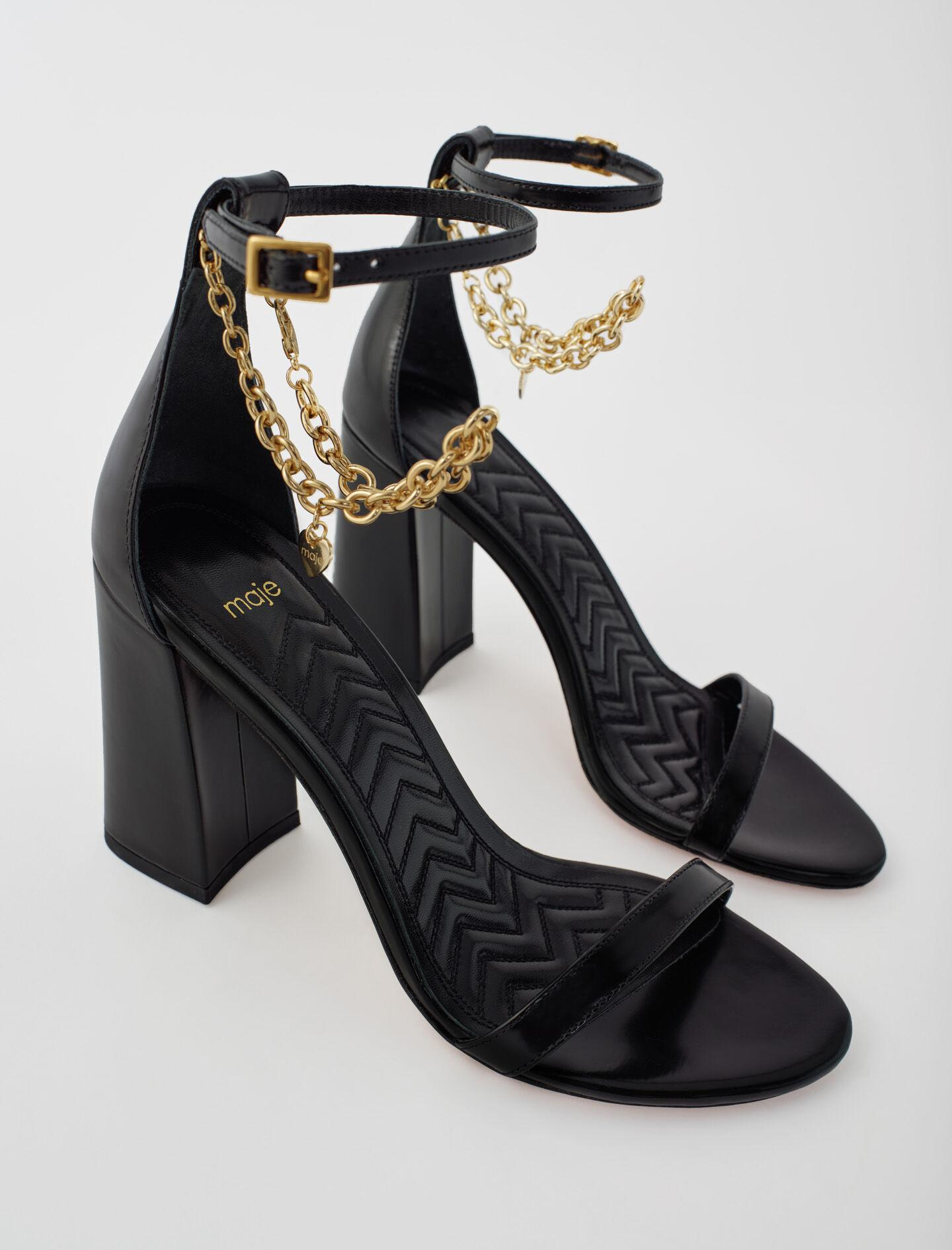 HIGH HEEL SANDALS WITH GOLD-TONE CHAIN 1
