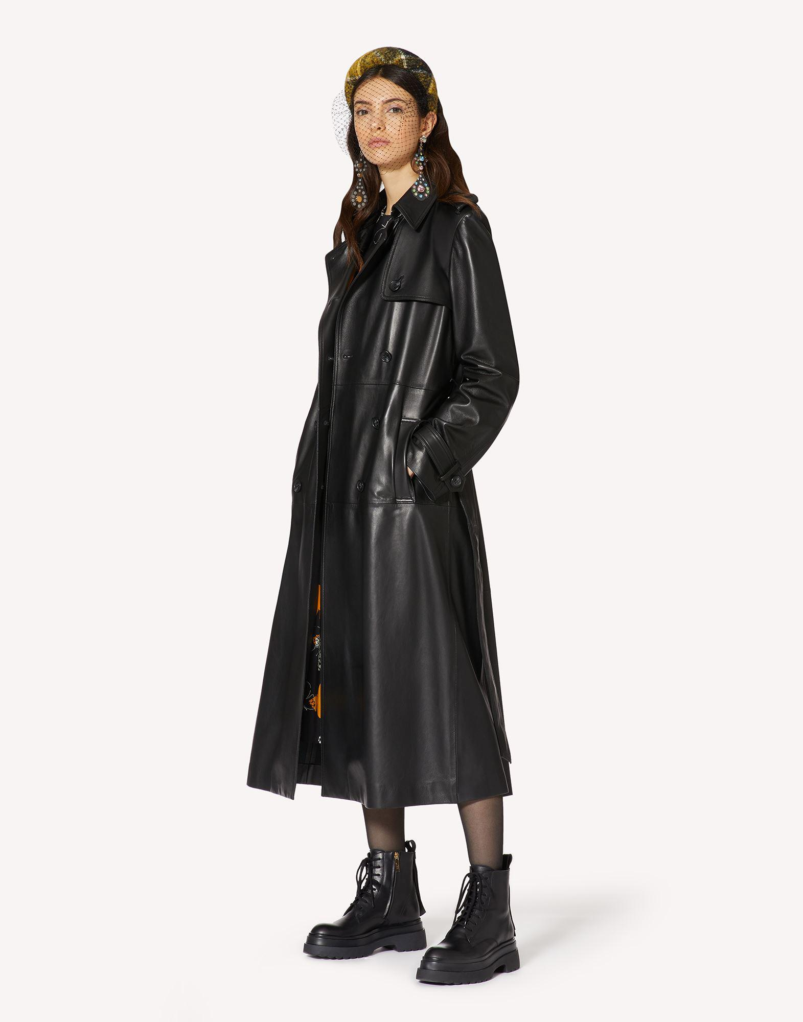 PLEATED LEATHER TRENCH COAT 2