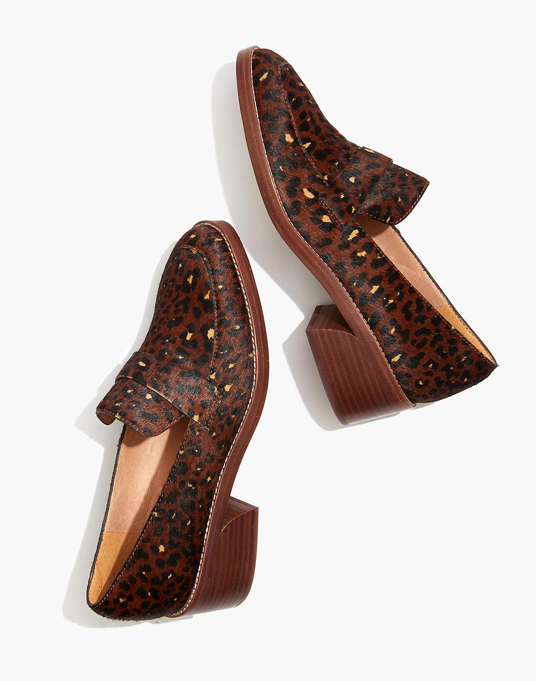 The Alex Heeled Loafer in Painted Leopard Calf Hair