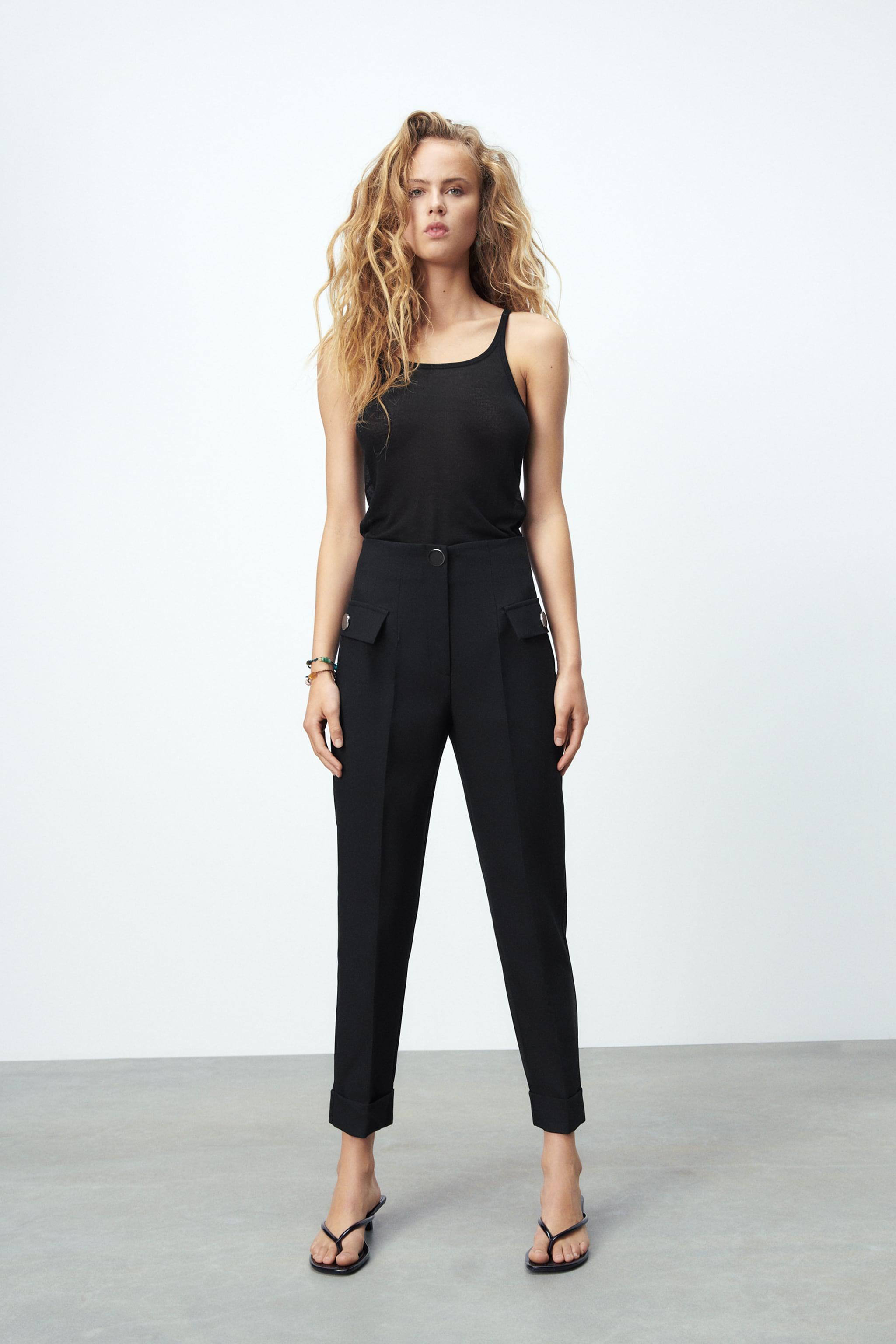 BUTTONED HIGH-WAISTED PANTS